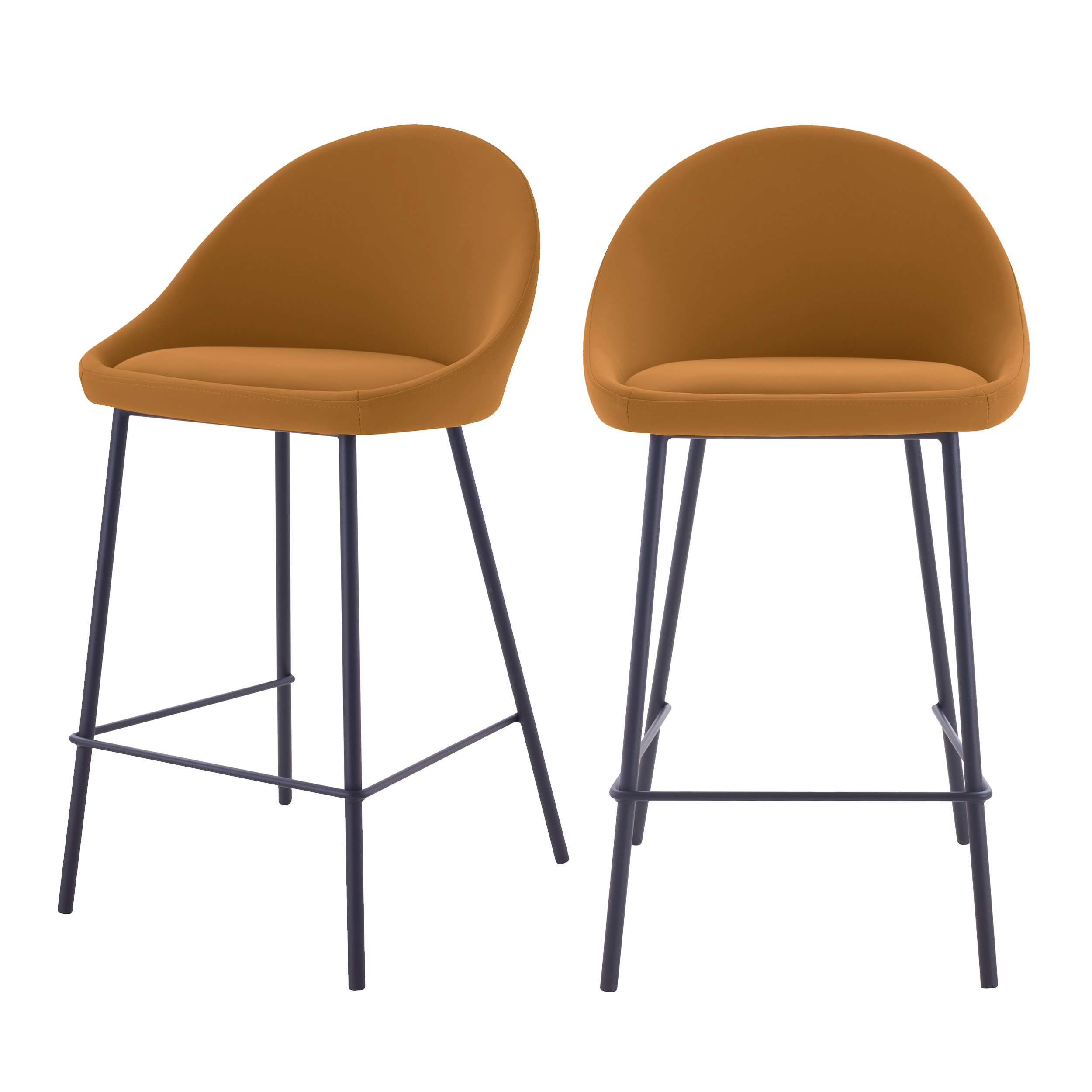 Chaise de bar mi-hauteur 65cm cuir synthétique cannelle (x2)