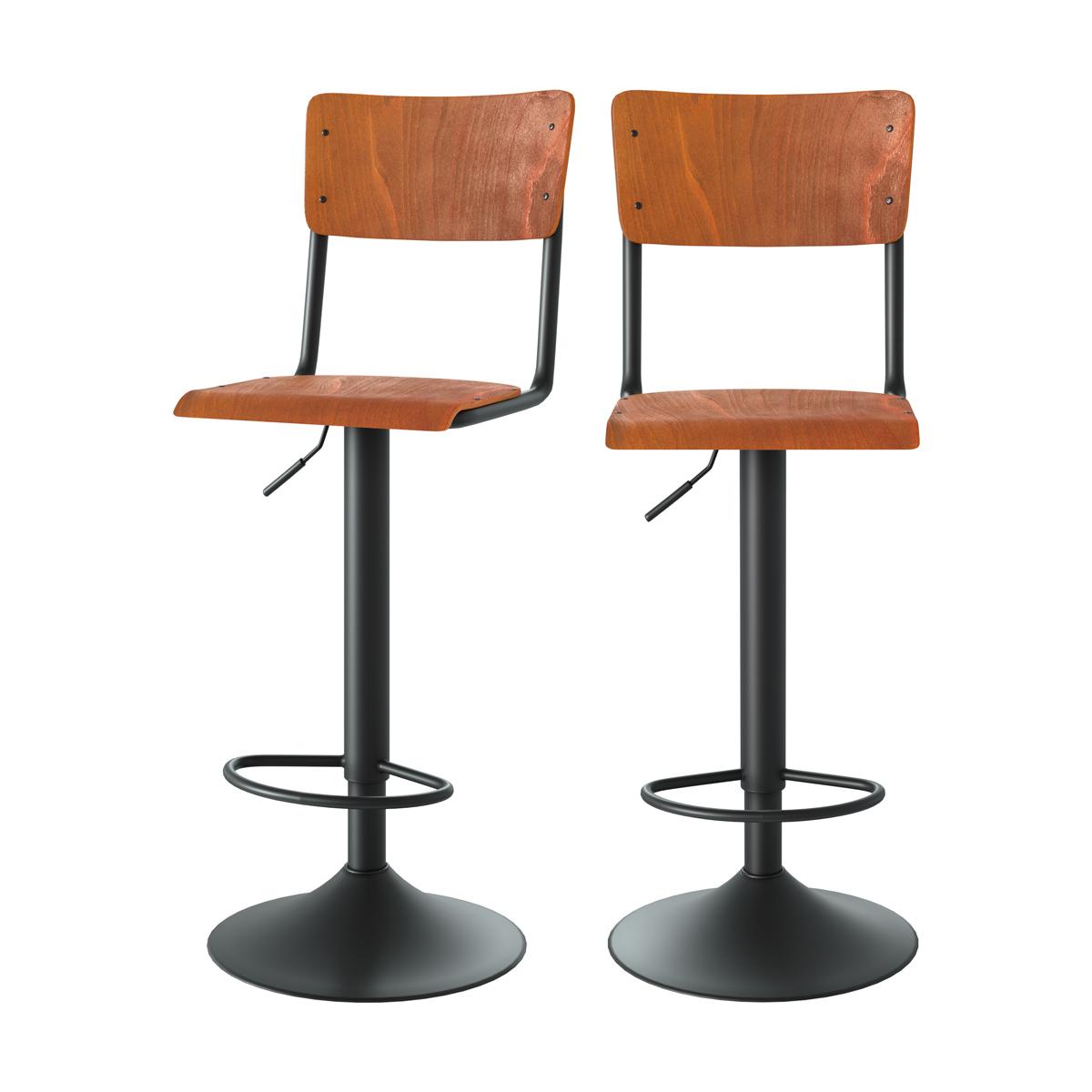Chaise de bar réglable 60/80 cm en bois foncé (lot de 2)