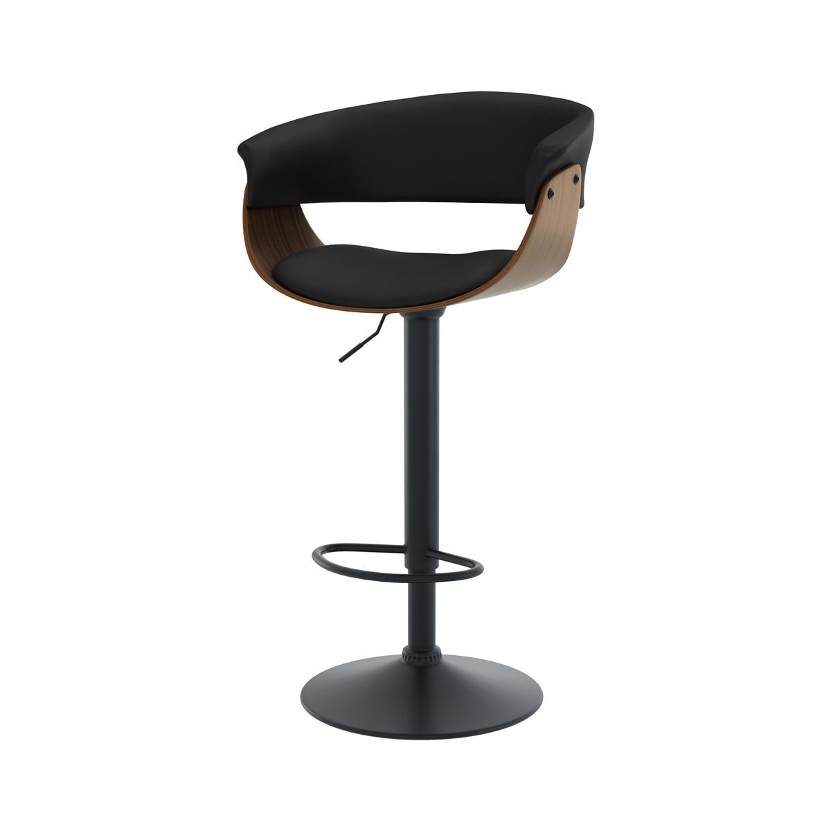 Chaise de bar réglable 65.5/81 cm en cuir synthétique noir