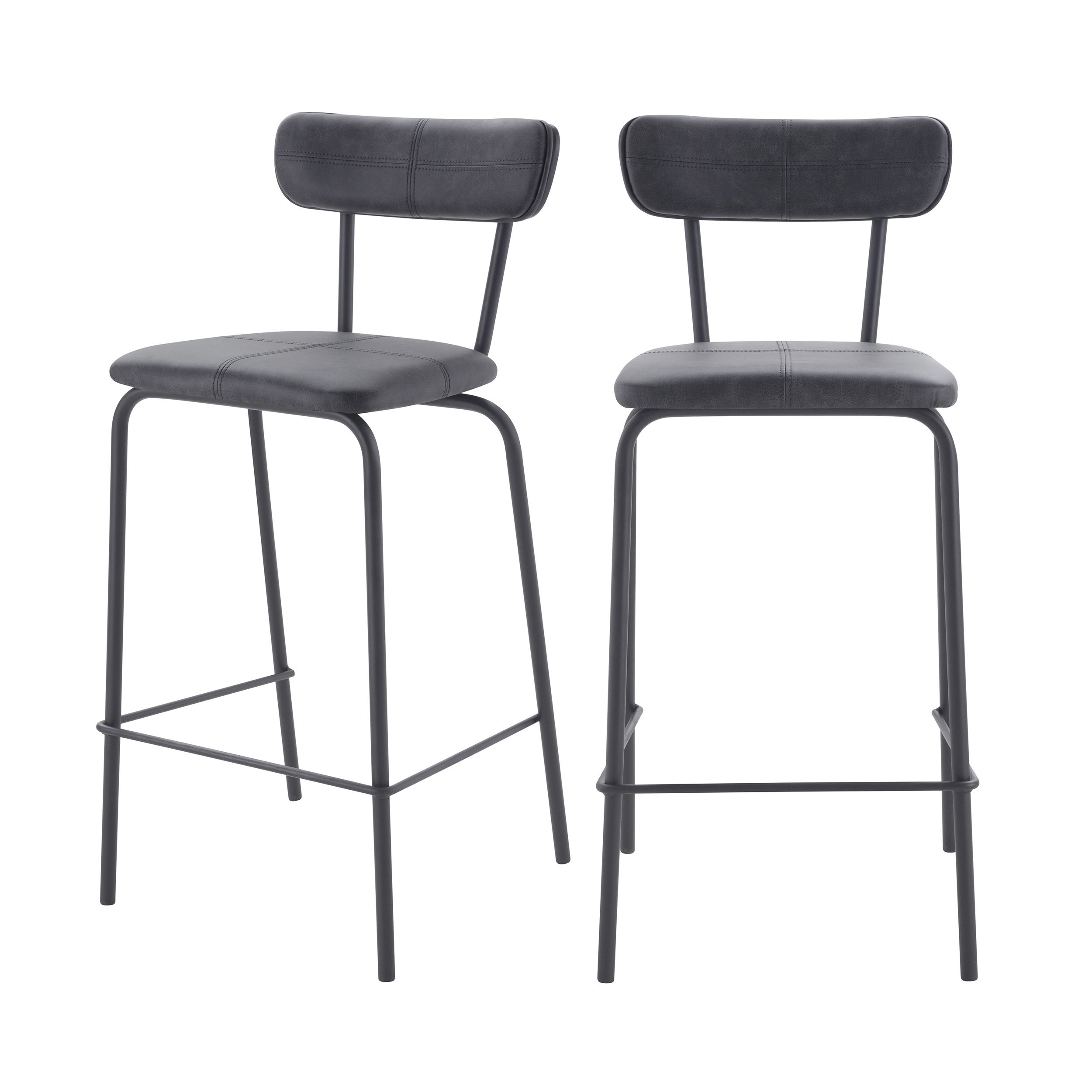 Chaise de bar mi-hauteur 65 cm gris anthracite (lot de 2)