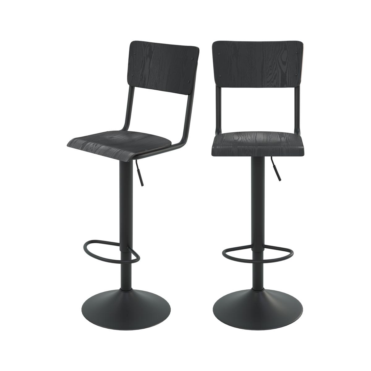 Chaise de bar réglable 60/80 cm en bois noir (lot de 2)