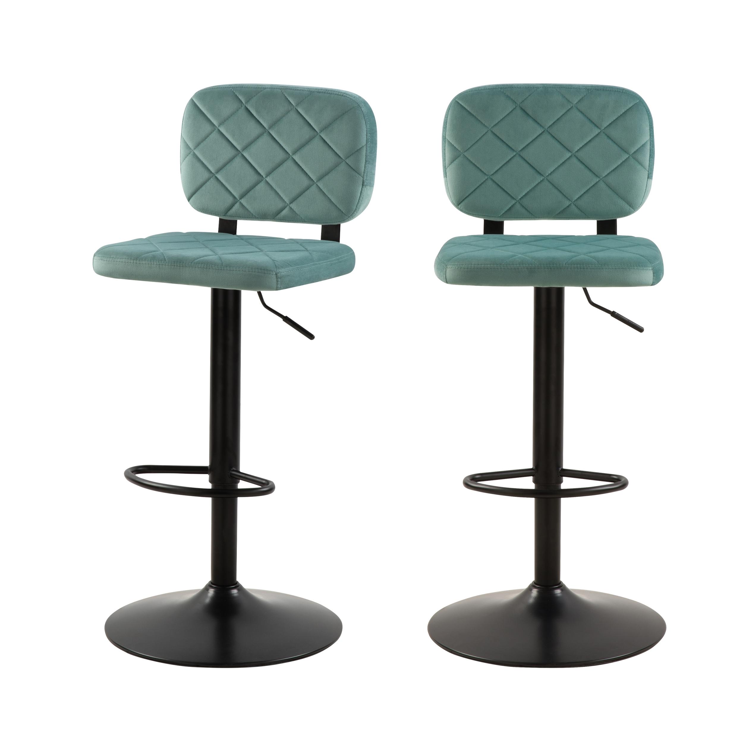 Chaise de bar réglable 60/81 cm en velours vert d'eau (x2)