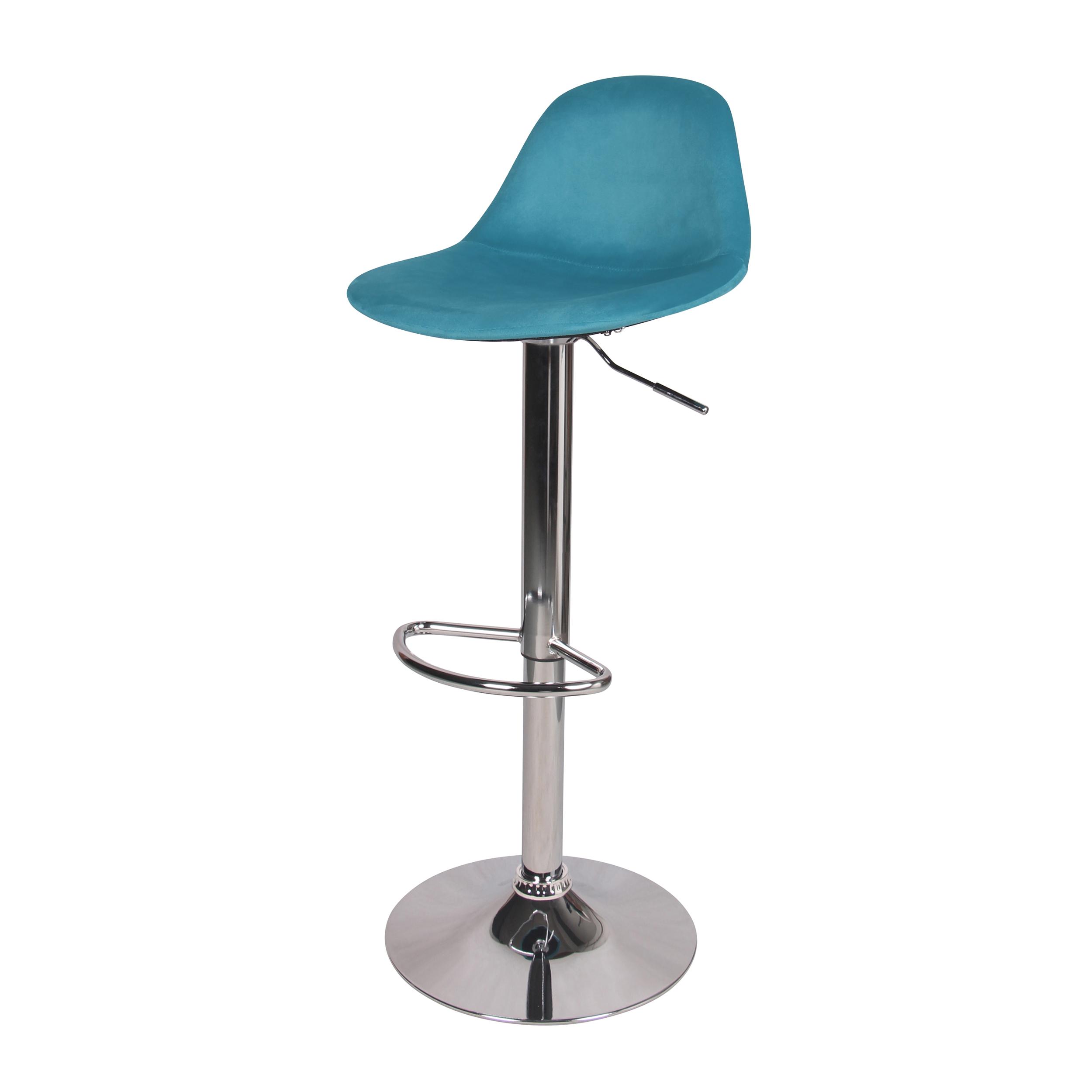 Chaise de bar réglable 60/82 cm en velours bleu paon