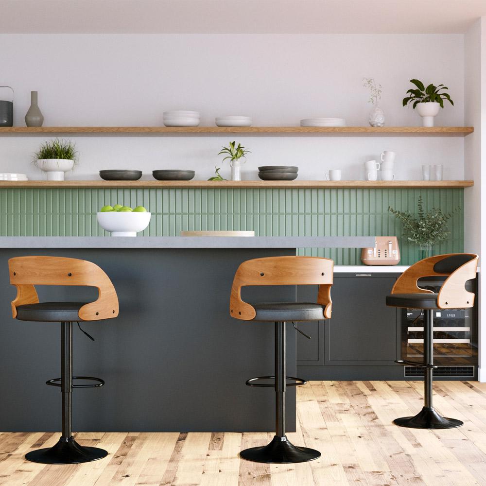 Chaise de bar réglable 63/84 cm en cuir synthétique noir