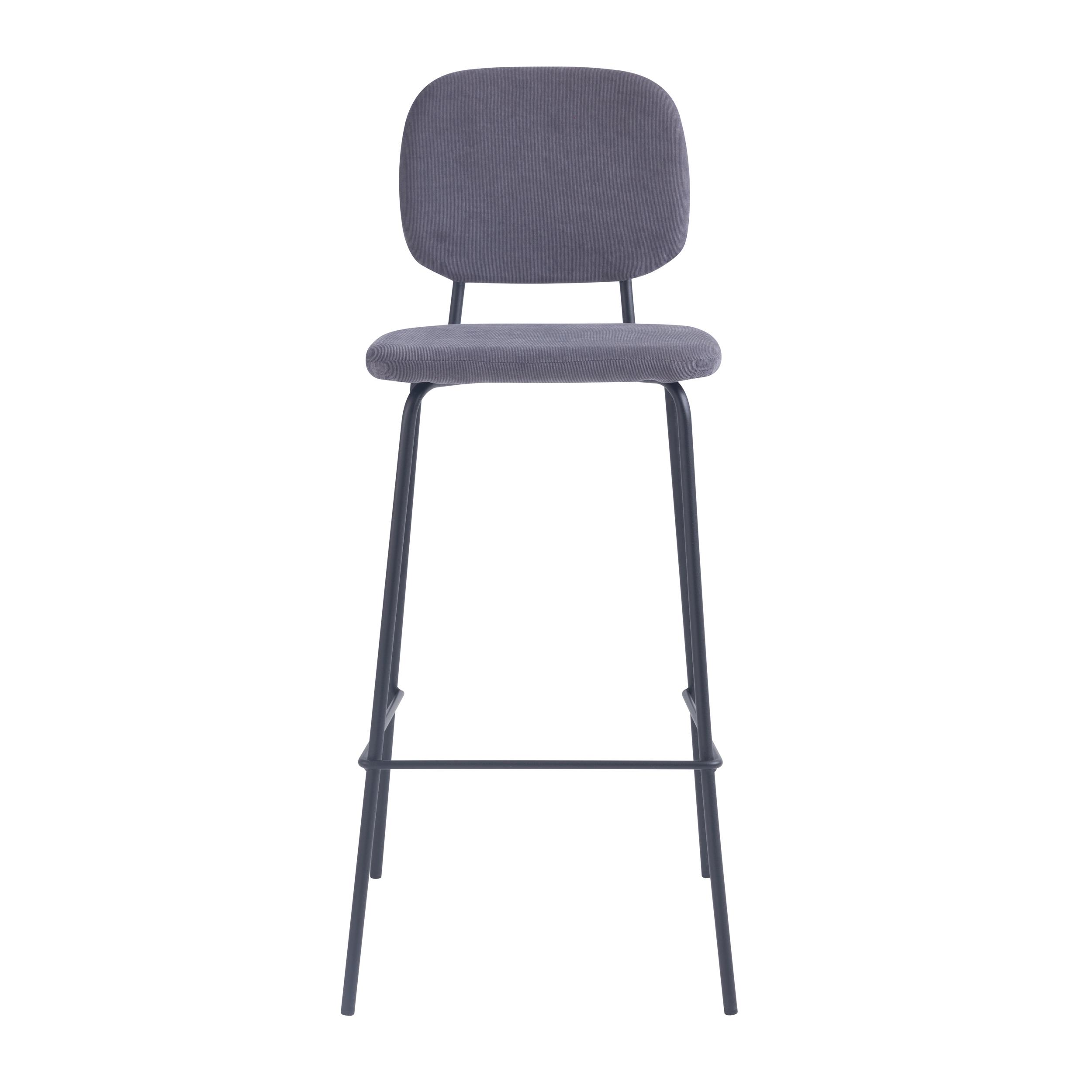 Chaise de bar 75 cm en velours côtelé gris (lot de 2)