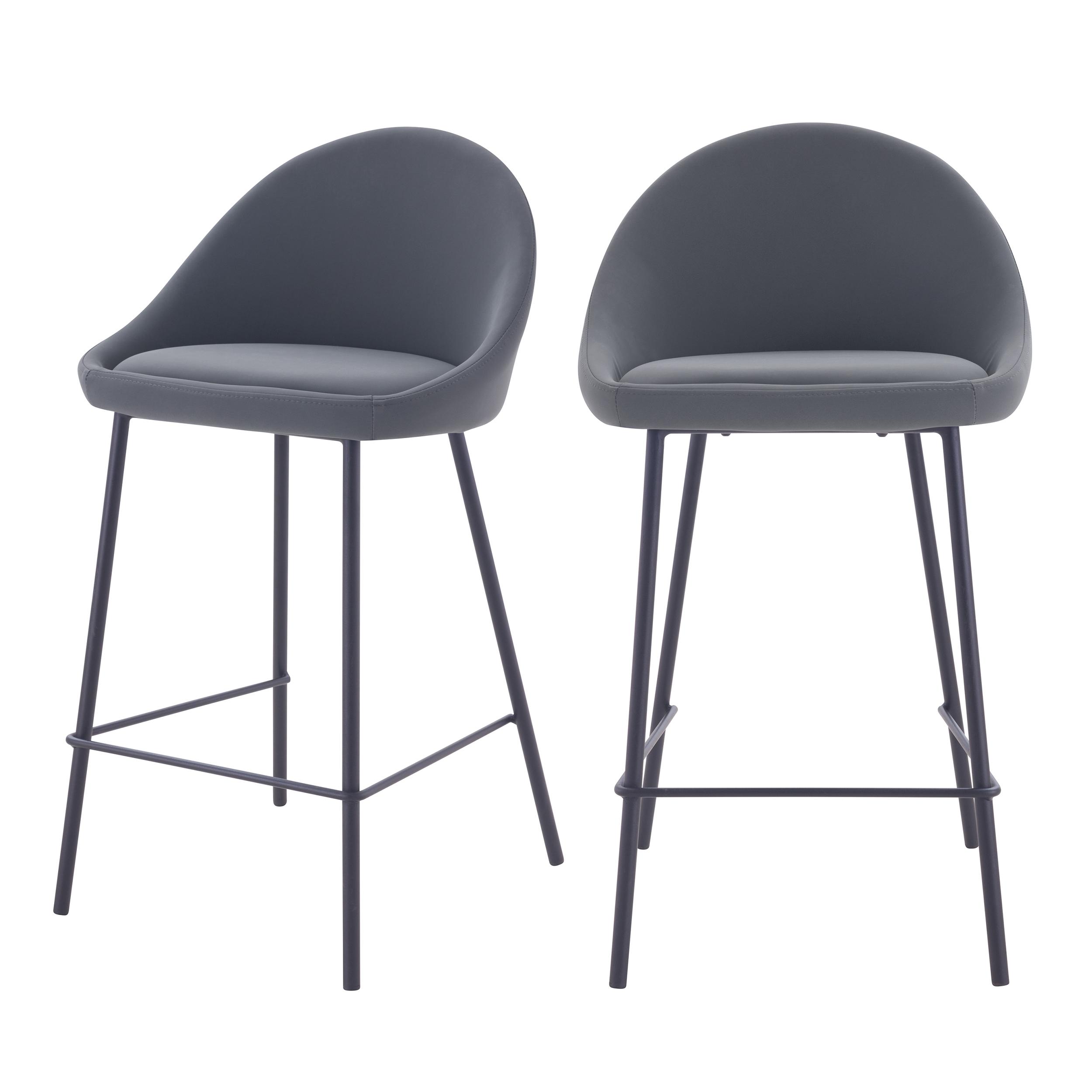 Chaise de bar mi-hauteur 65 cm en cuir synthétique gris (x2)
