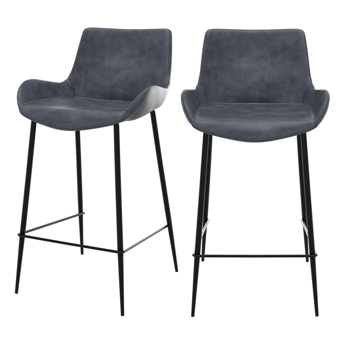 Chaise bar mi-hauteur 65cm cuir synthétique gris foncé (x2)