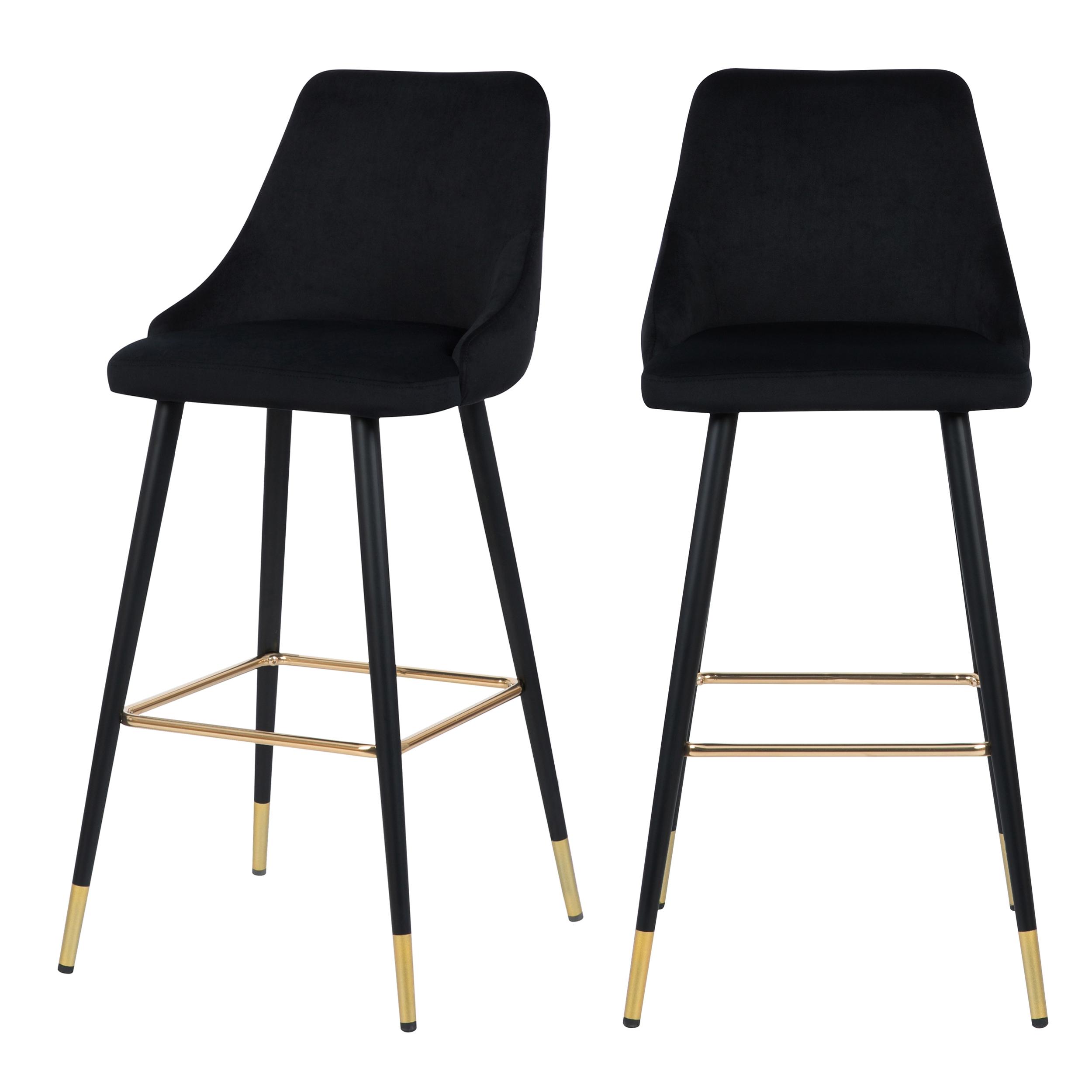 Chaise de bar 77.5 cm en velours noir (lot de 2)