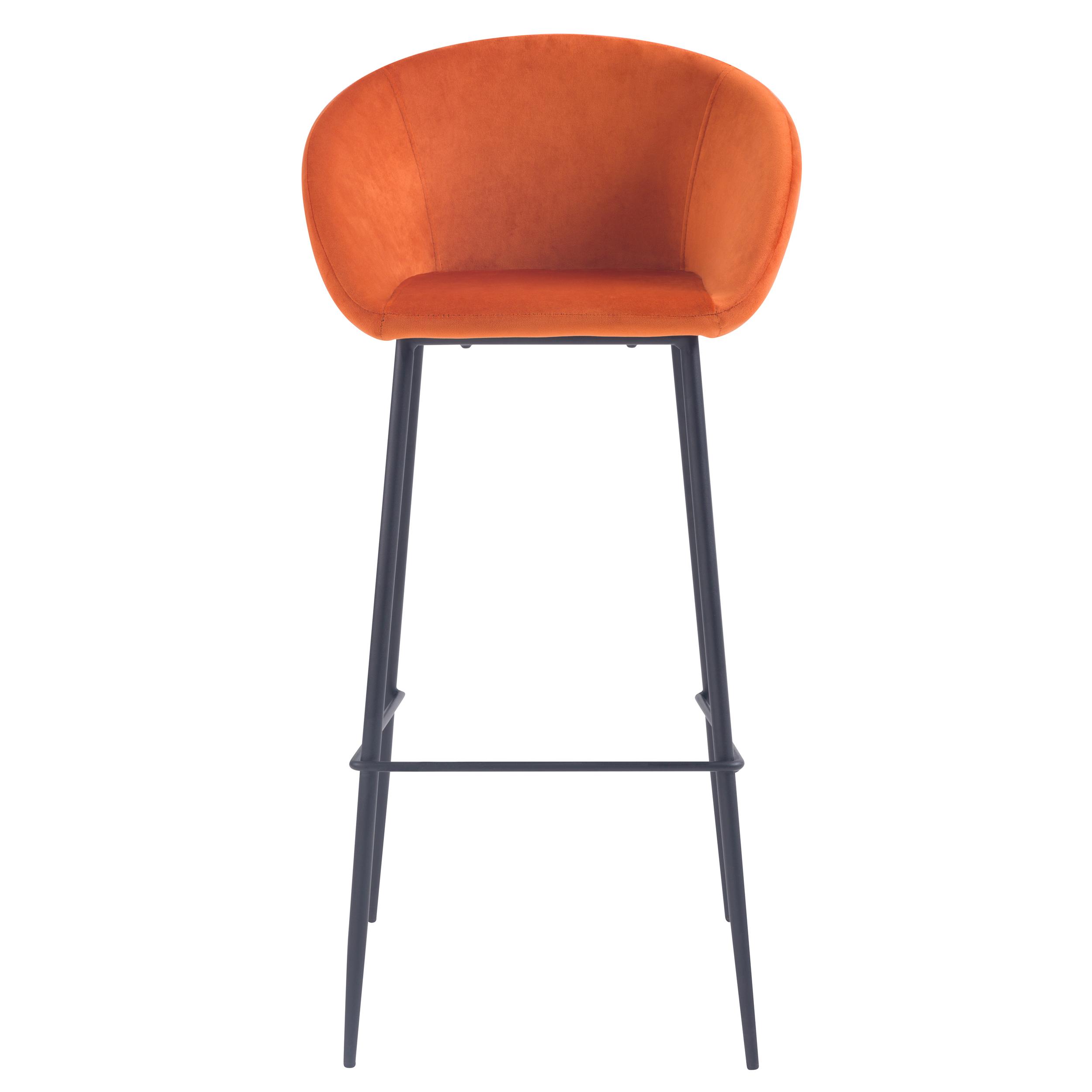 Chaise de bar 75 cm en velours orange (lot de 2)