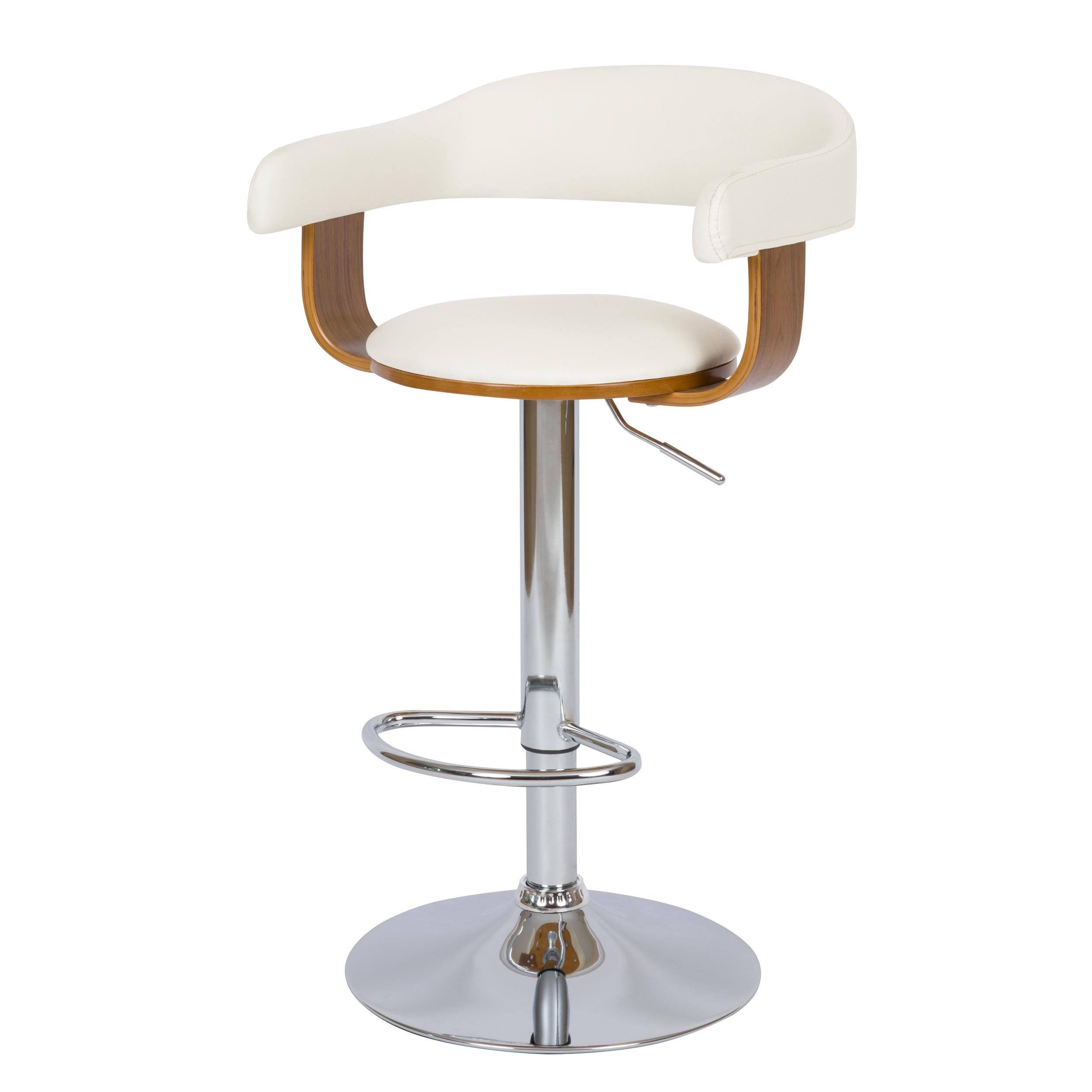 Chaise de bar réglable 59/79 cm en cuir synthétique blanc