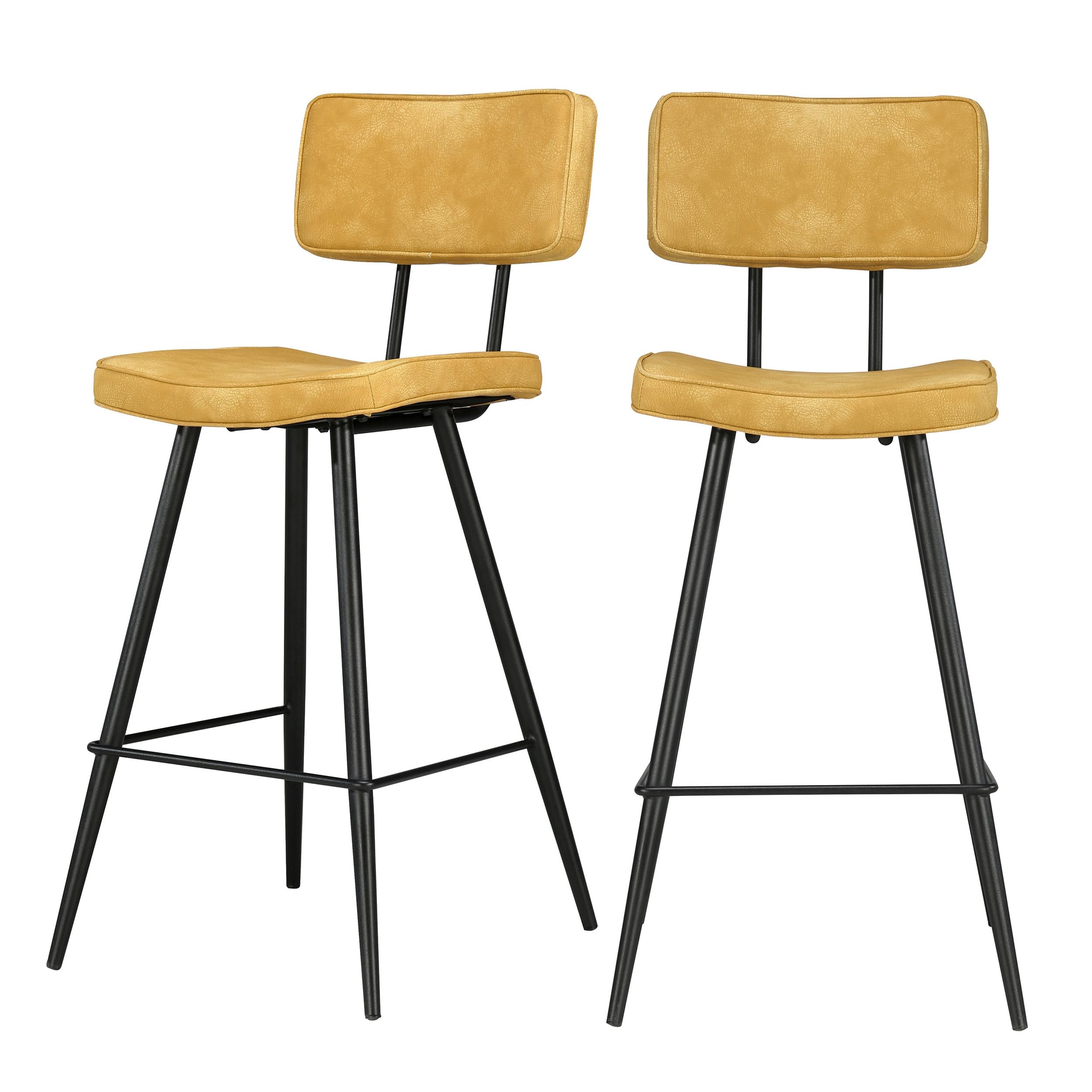 Chaise de bar mi-hauteur 65 cm cuir synthétique jaune (x2)