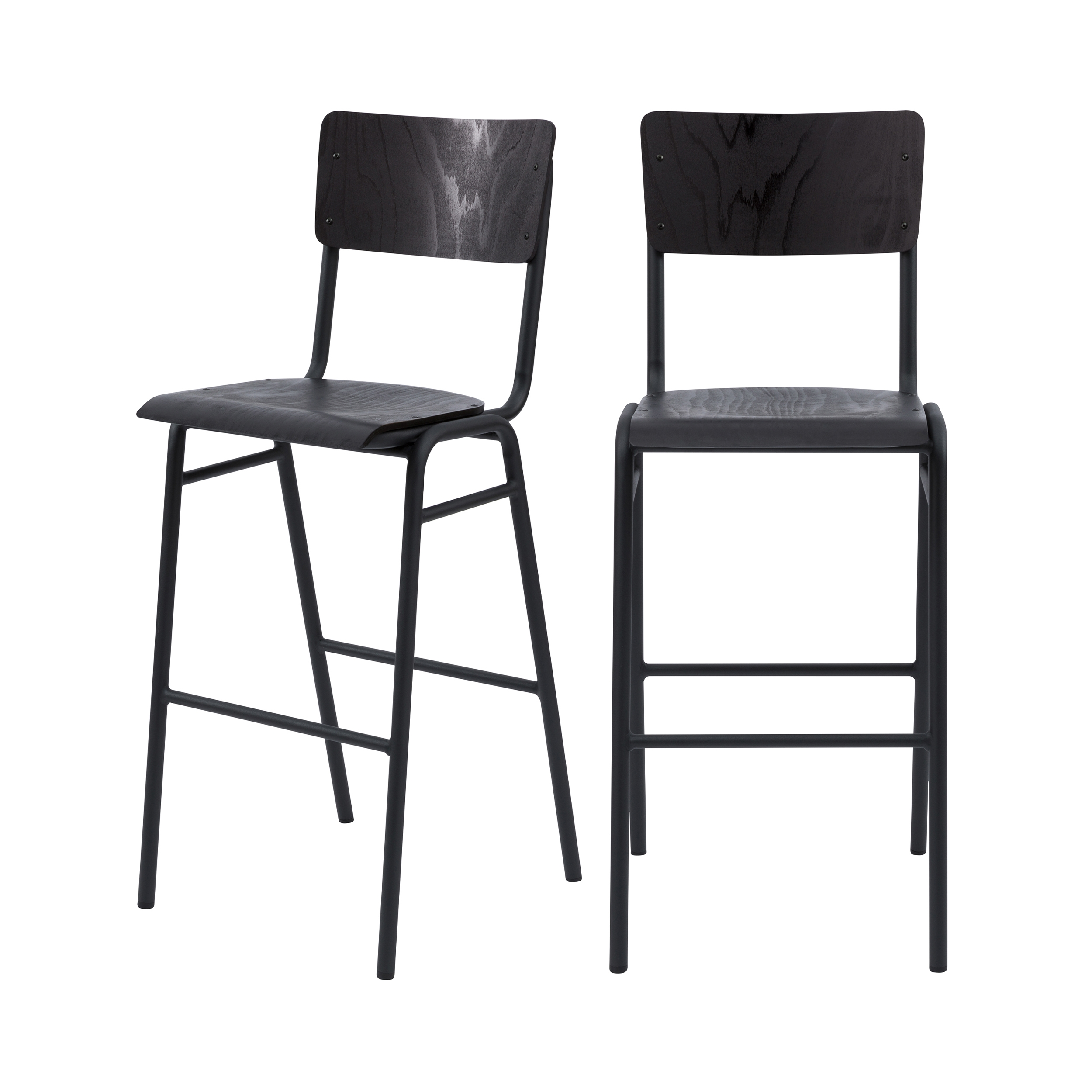 Chaise de bar 75 cm en bois noir (lot de 2)