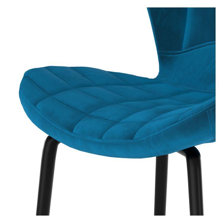 Chaise de bar 75 cm en velours bleu (lot de 2)