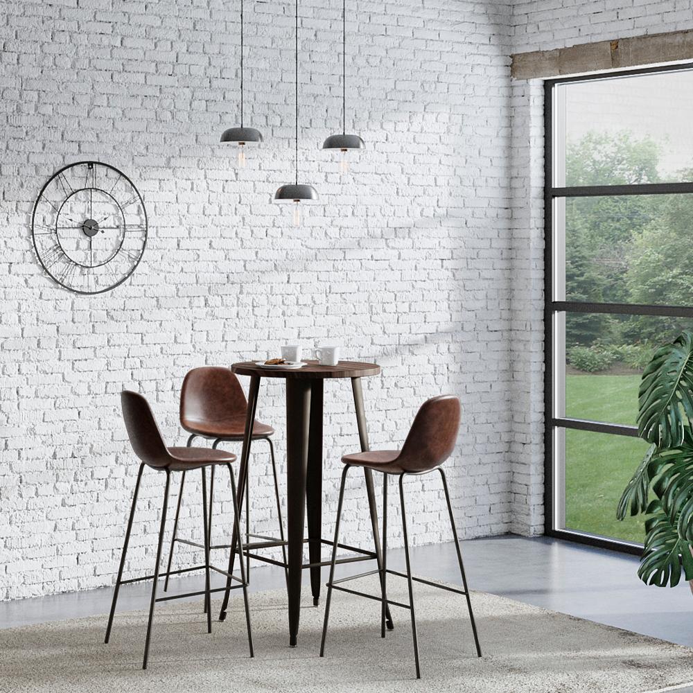 Chaise de bar 75 cm en cuir synthétique marron (lot de 2)