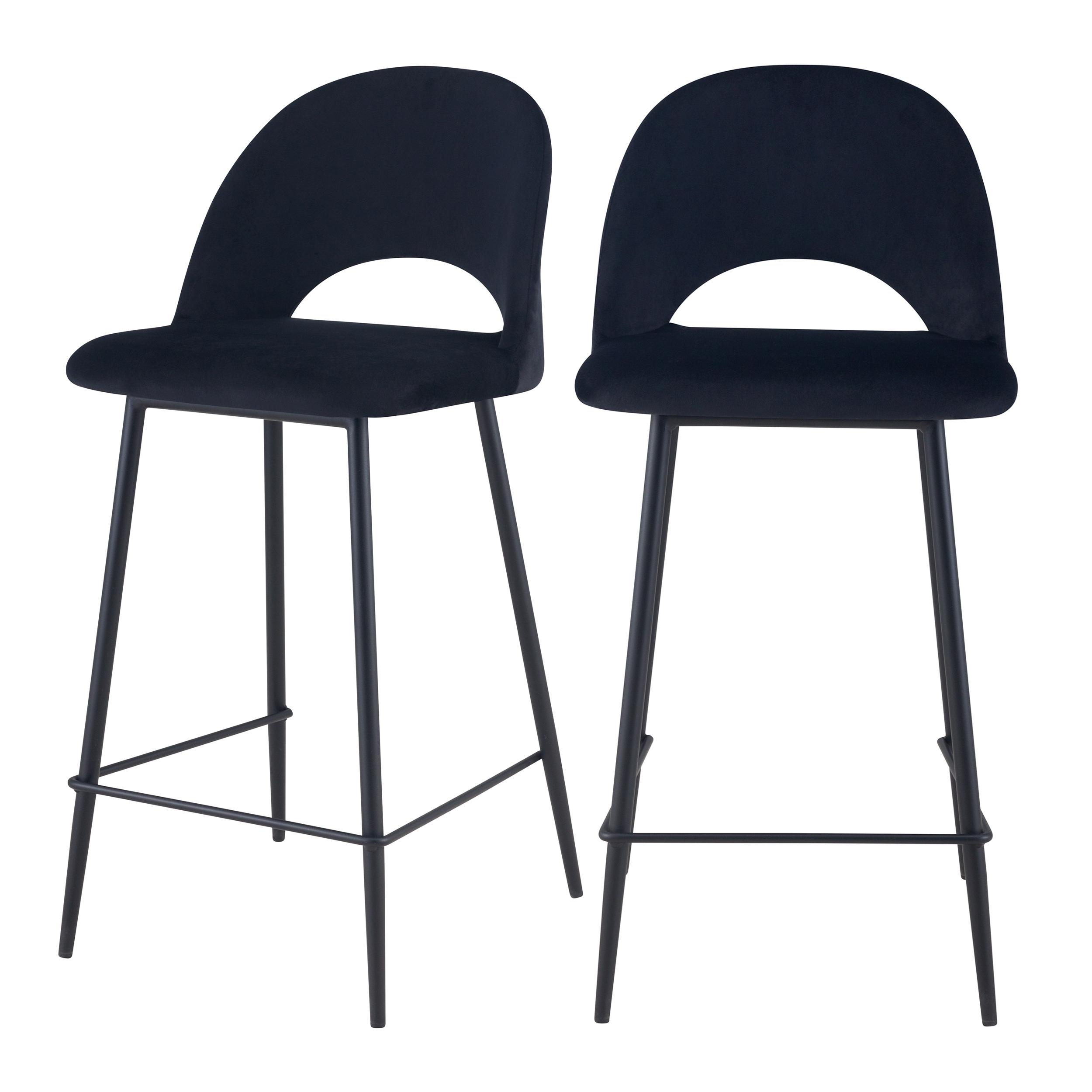 Chaise de bar mi-hauteur 65 cm en velours noir (lot de 2)