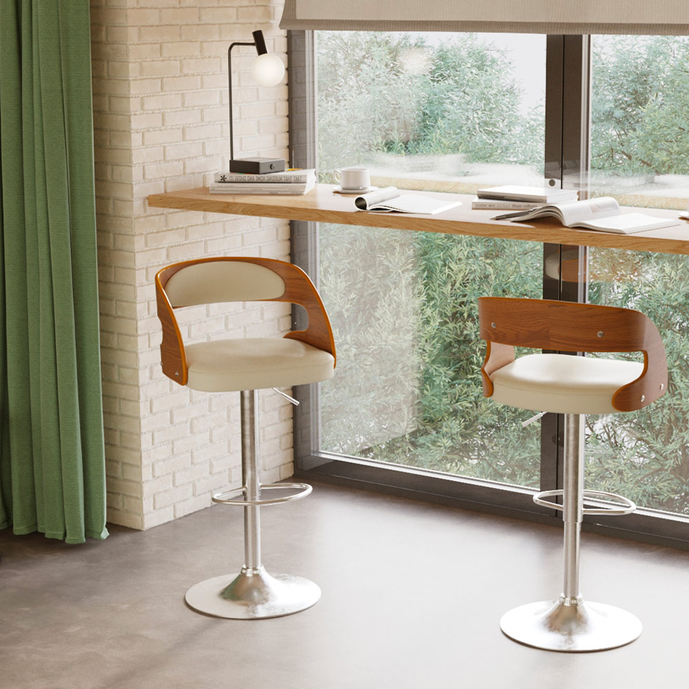 Chaise de bar réglable 63/84 cm en cuir synthétique blanc