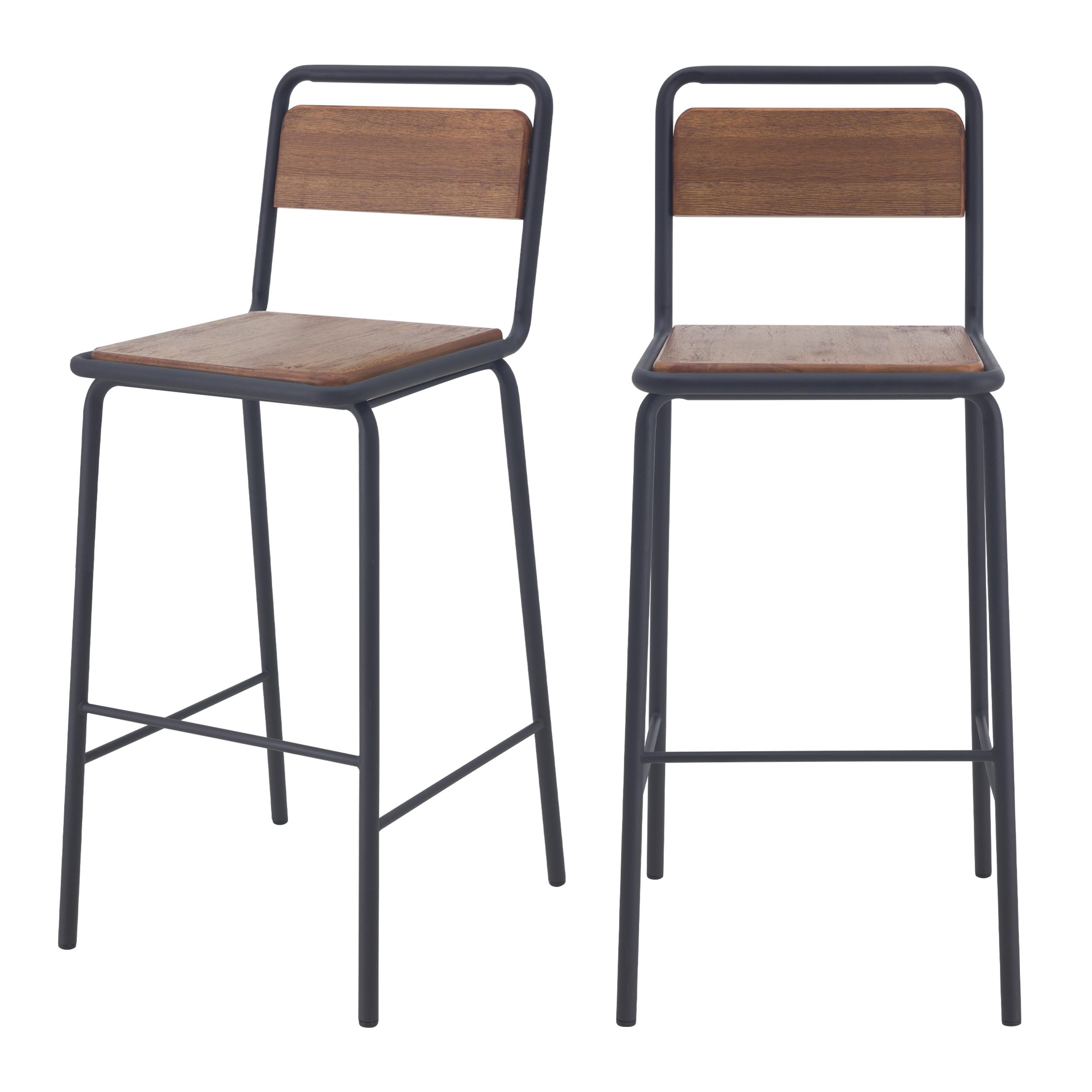 Chaise de bar 72 cm en bois vieilli et métal noir (lot de 2)