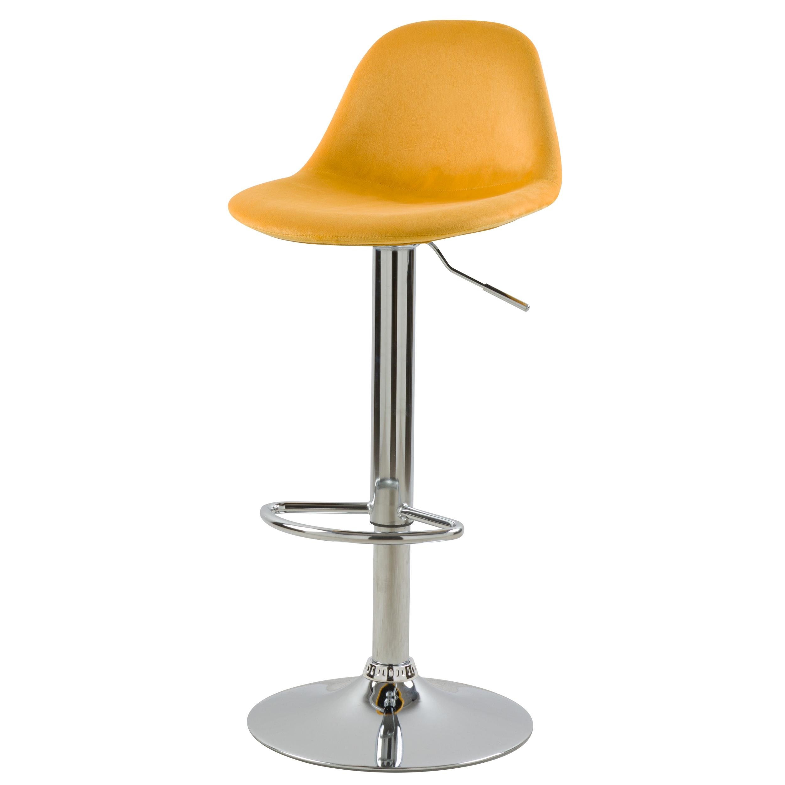 Chaise de bar réglable 60/82 cm en velours jaune