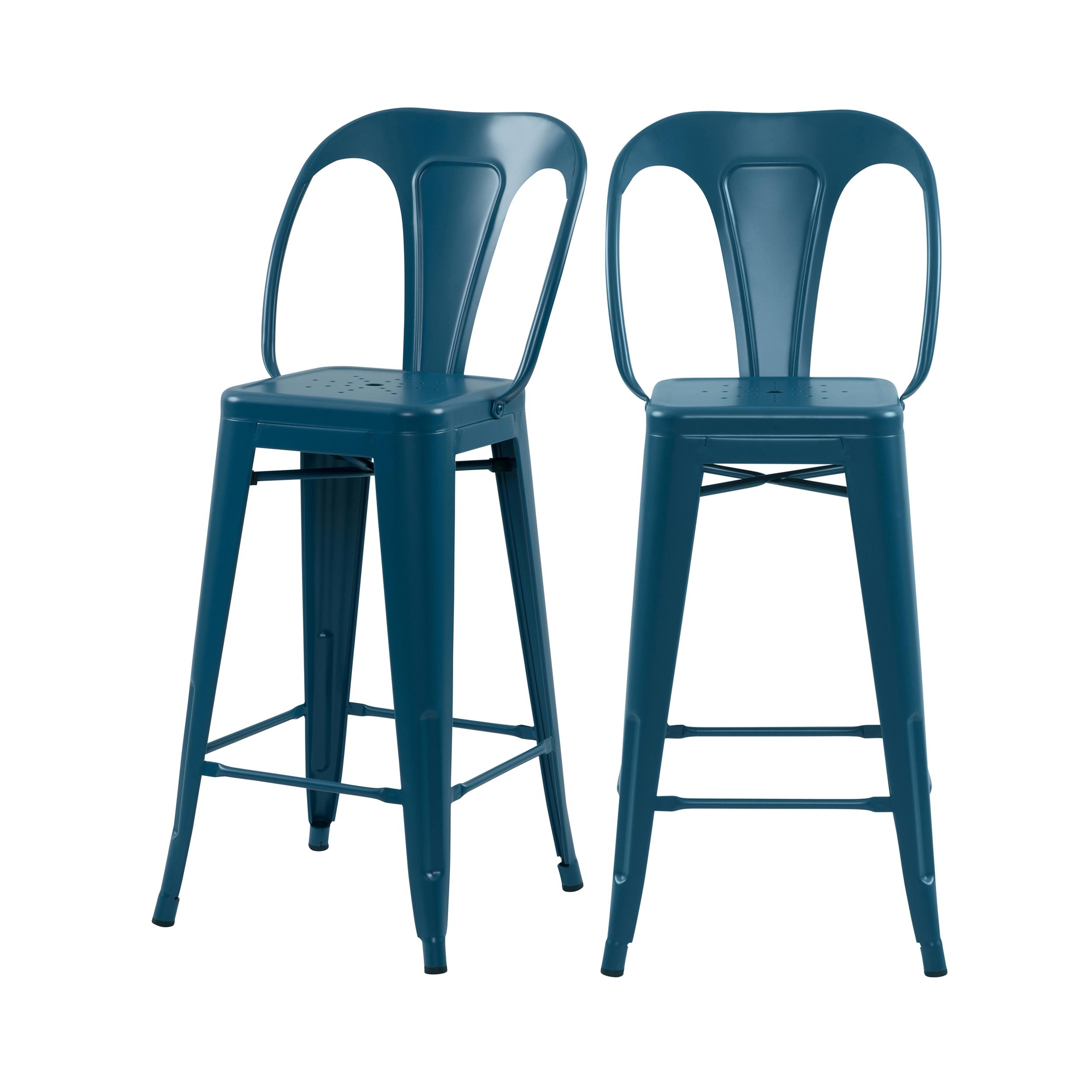 Chaise de bar mi-hauteur 66 cm en métal bleu mat (lot de 2)