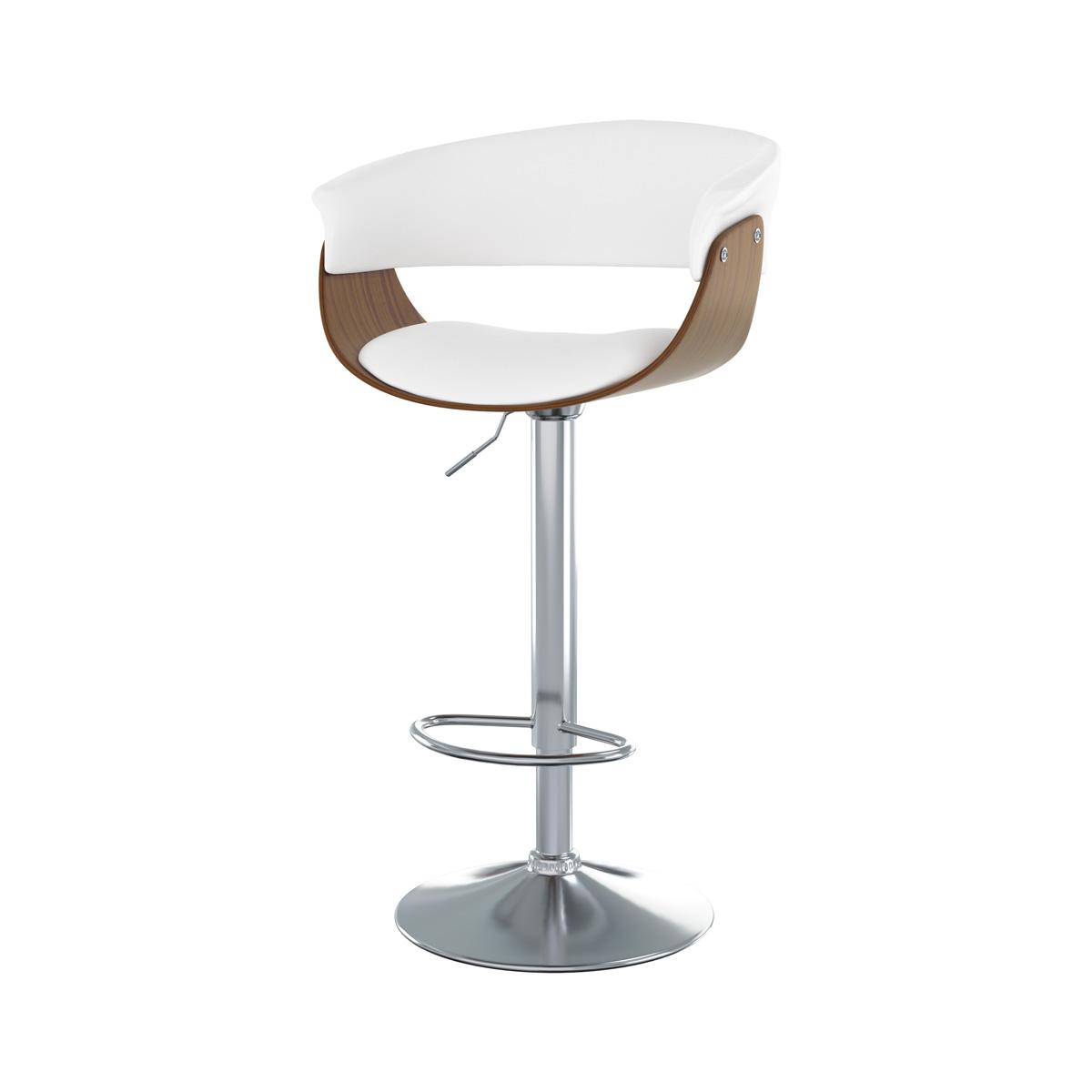 Chaise de bar réglable 65.5/81 cm en cuir synthétique blanc