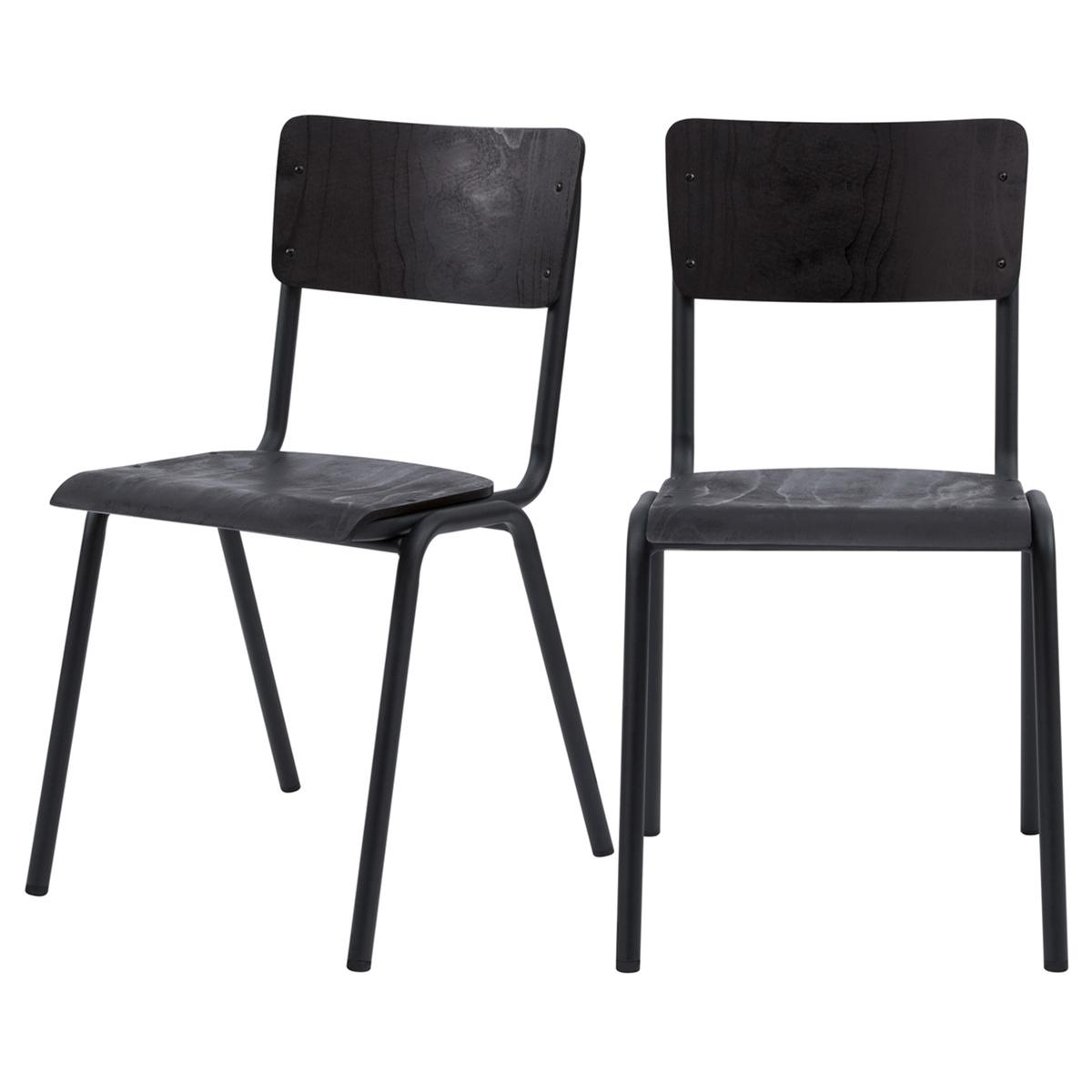 Chaise en bois noir et pieds en métal noir (lot de 2)
