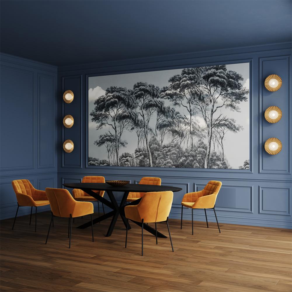 Chaise en velours jaune (lot de 2)