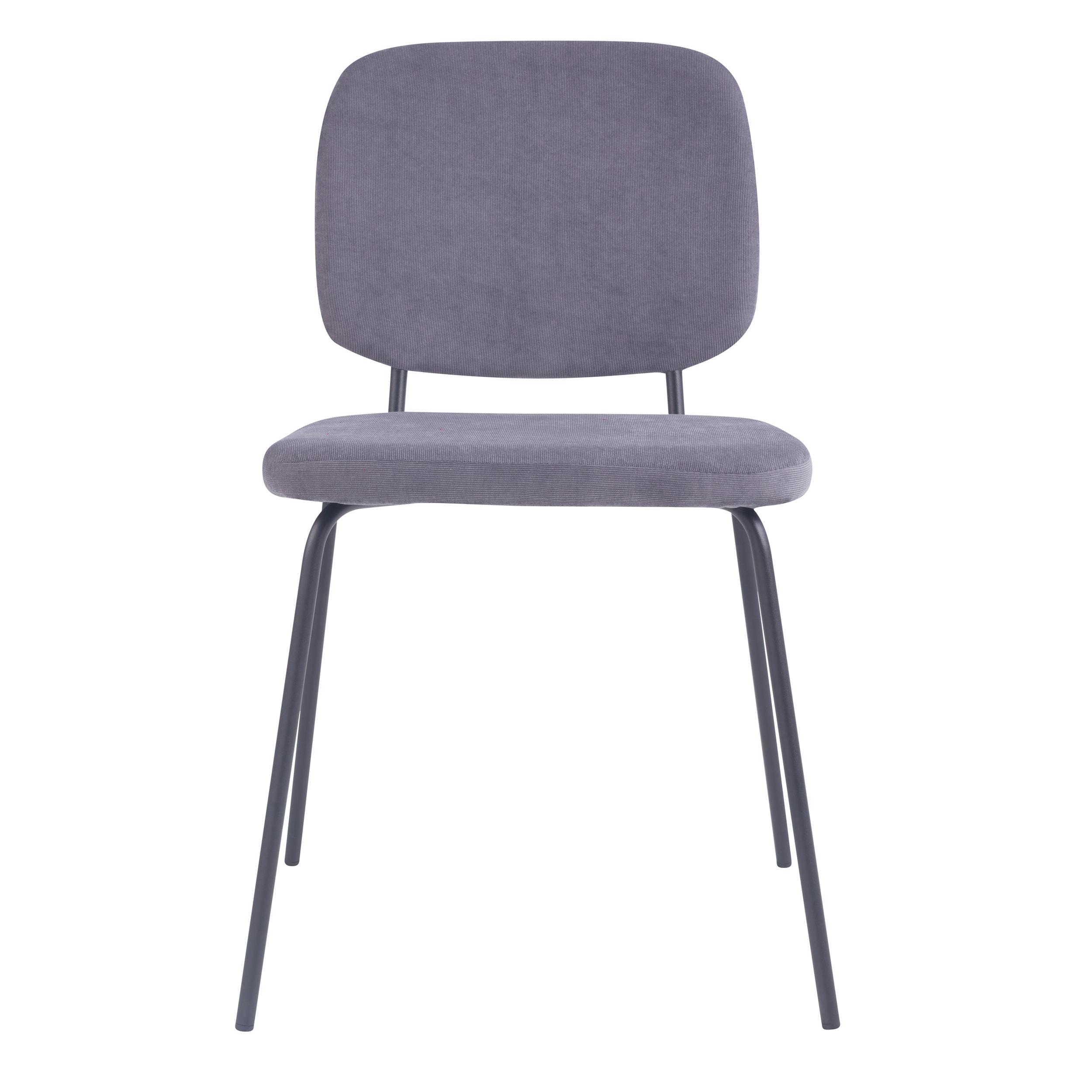 Chaise en velours côtelé gris (lot de 2)