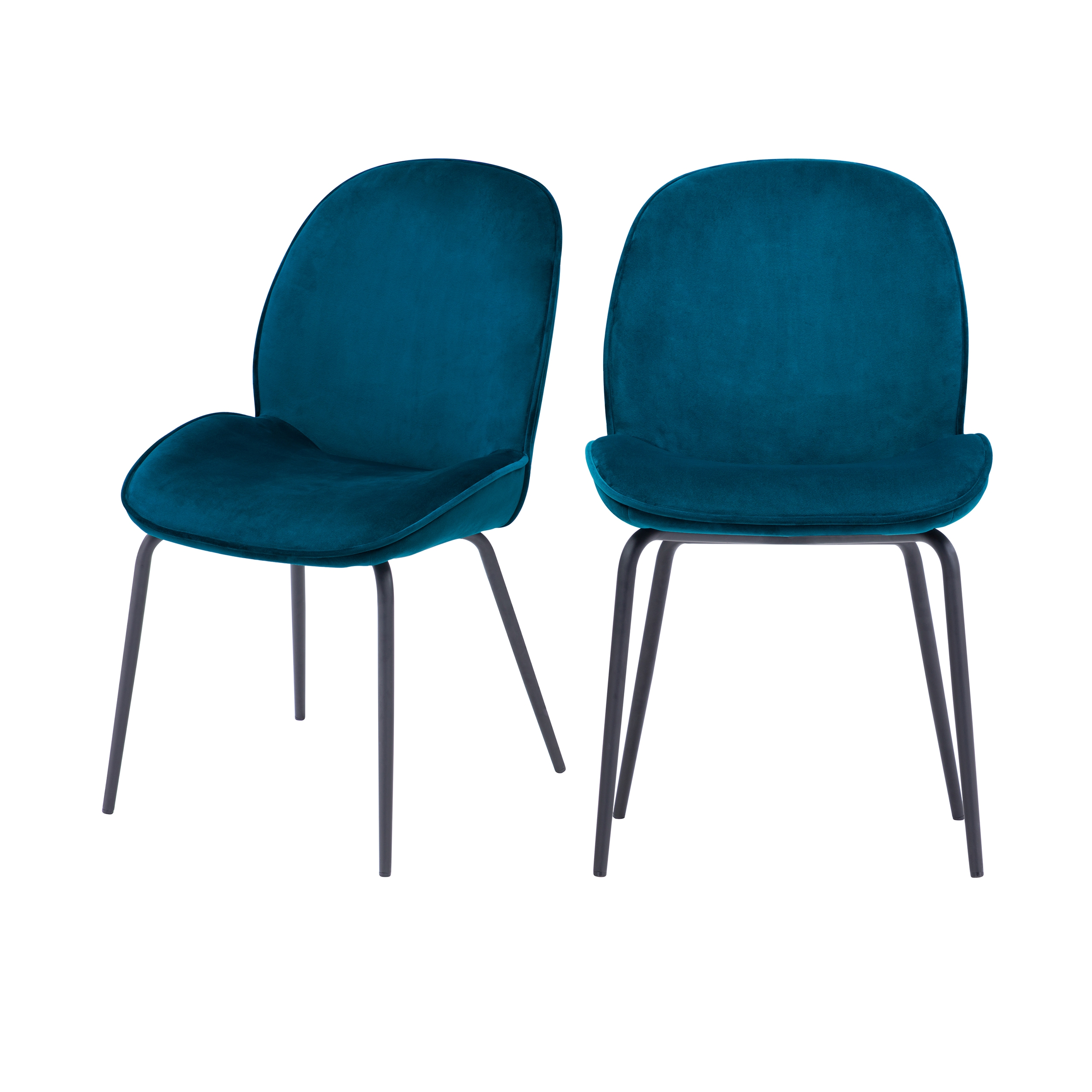 maison du monde Chaise en velours bleu (lot de 2)