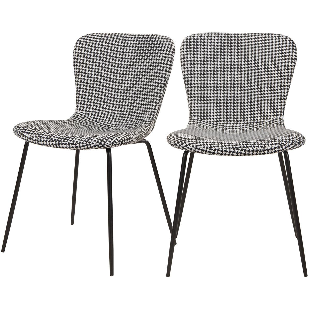 Chaise à motifs pied-de-poule et pieds en métal (lot de 2)