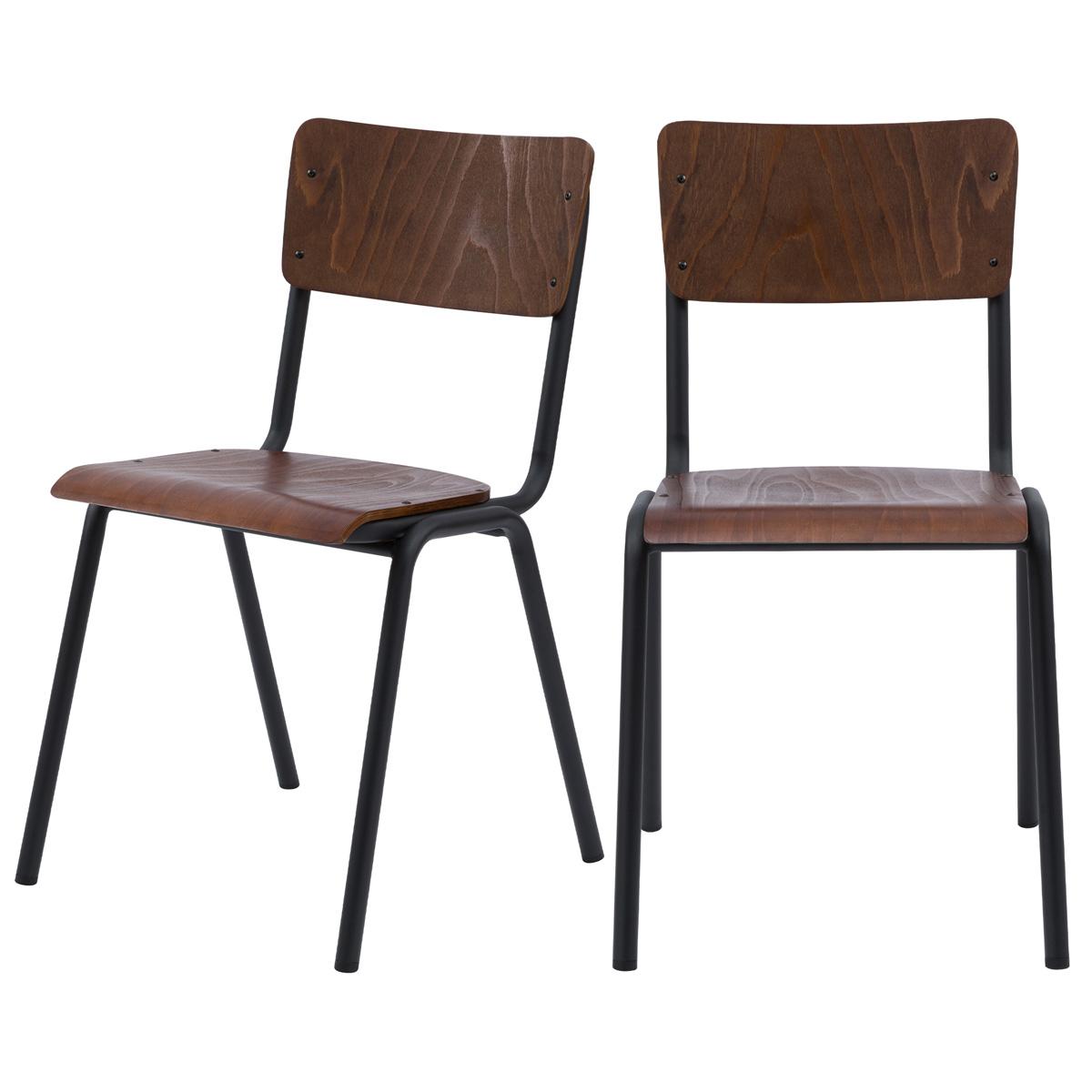 Chaise en bois foncé et pieds en métal noir (lot de 2)