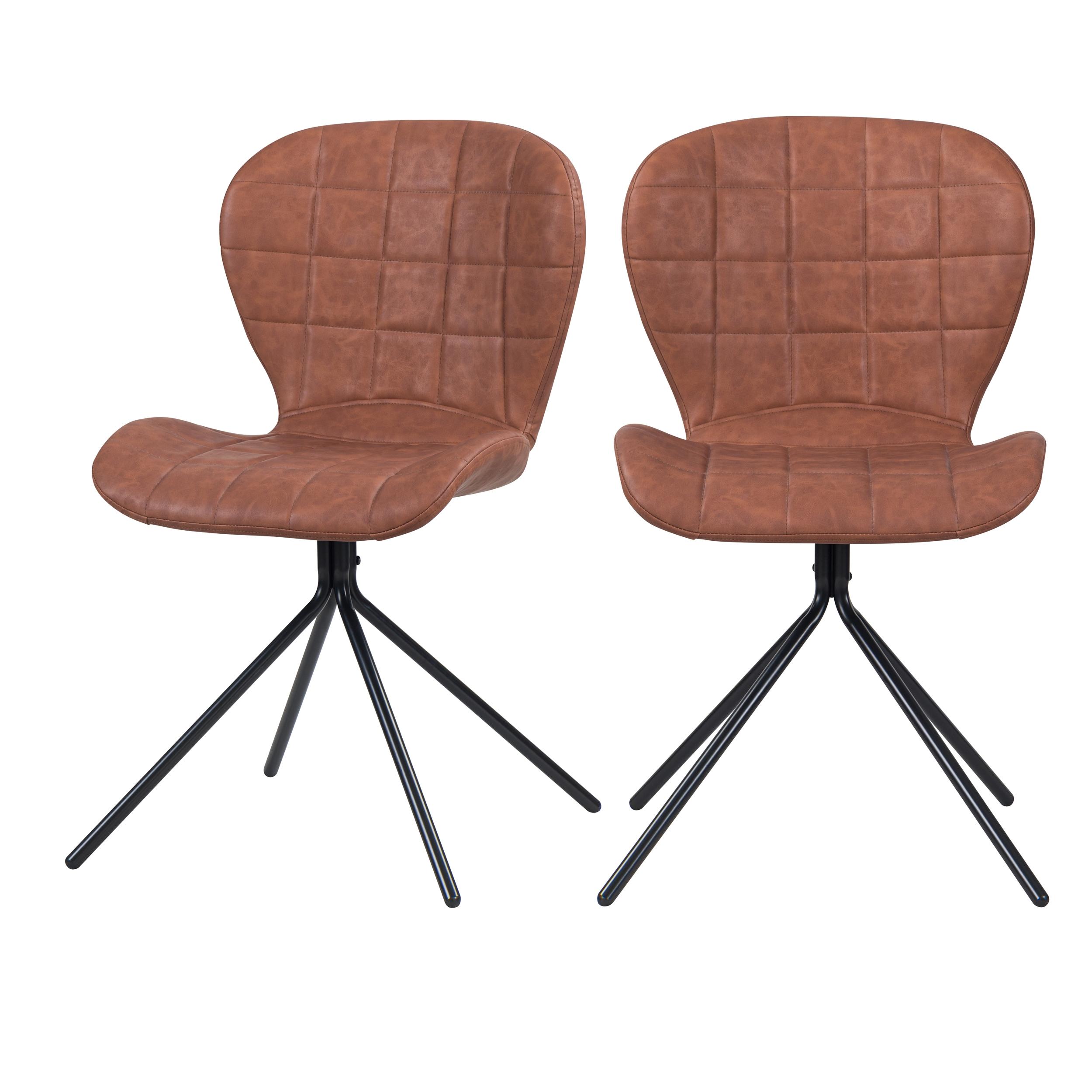 Chaise en PU molletonné camel et pieds en métal