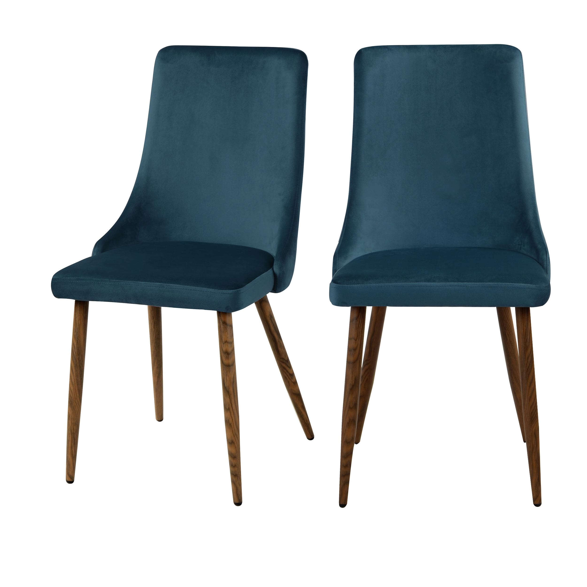 Chaise en velours bleu (lot de 2)
