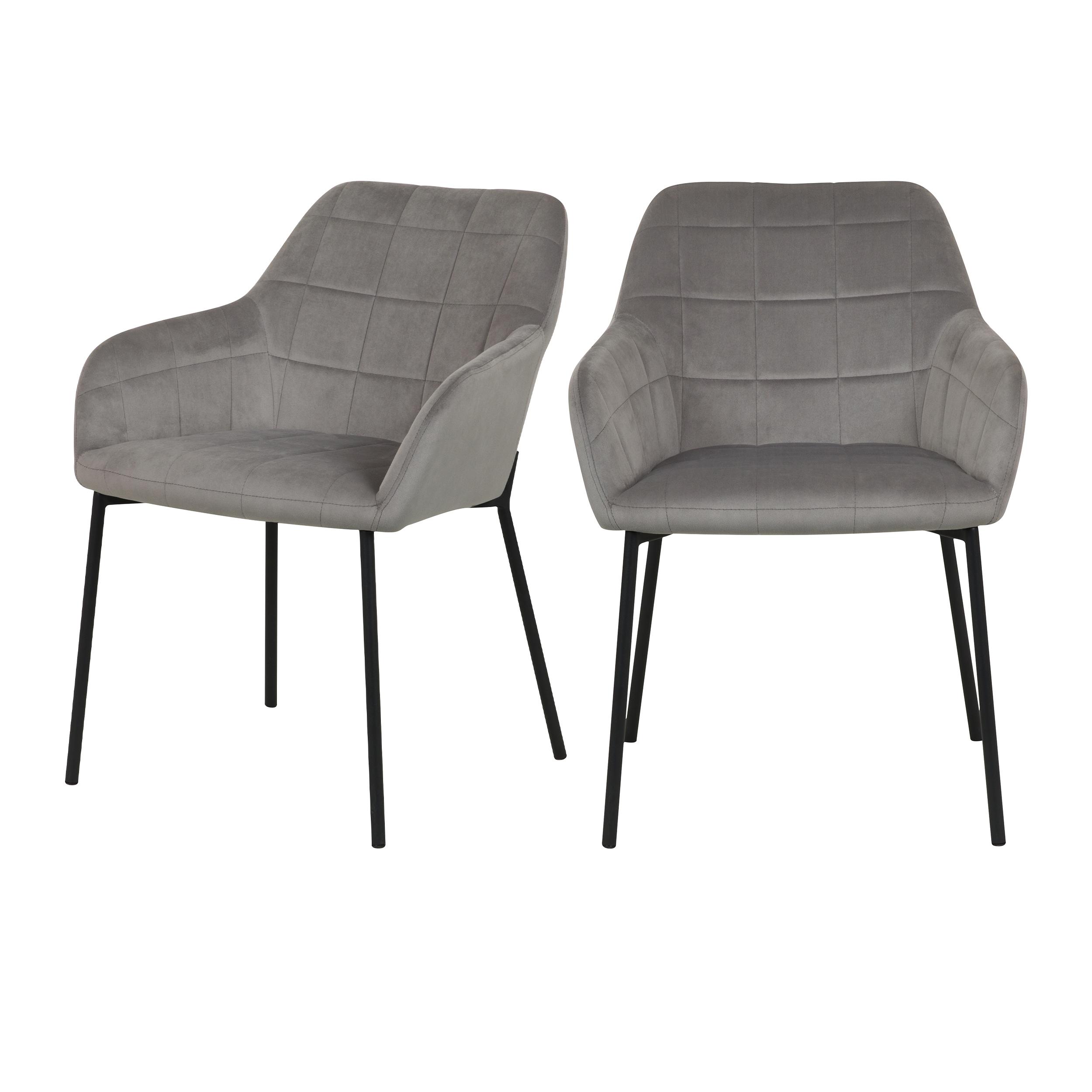 Chaise en velours gris (lot de 2)