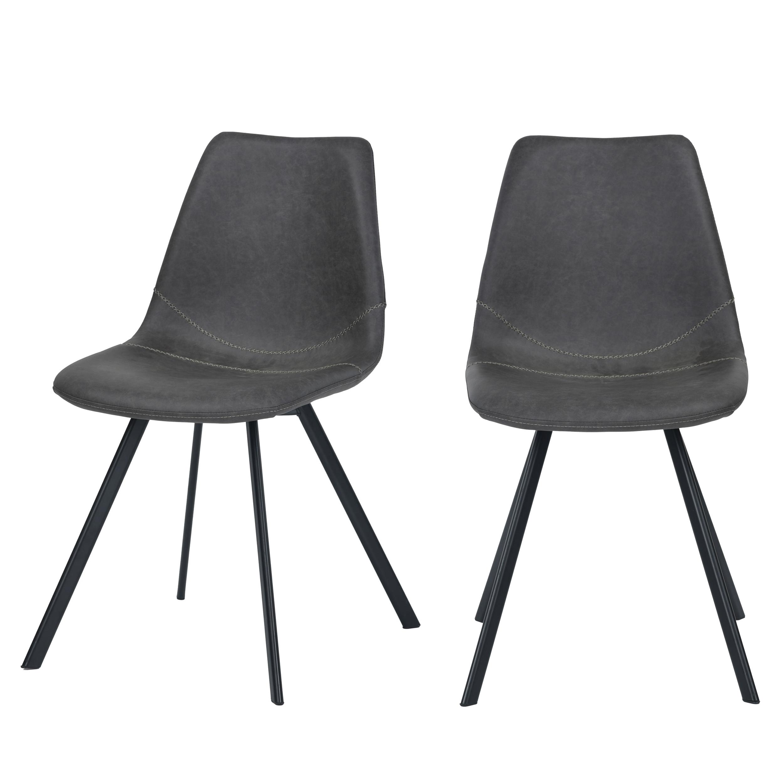 Chaise en cuir synthétique gris (lot de 2)
