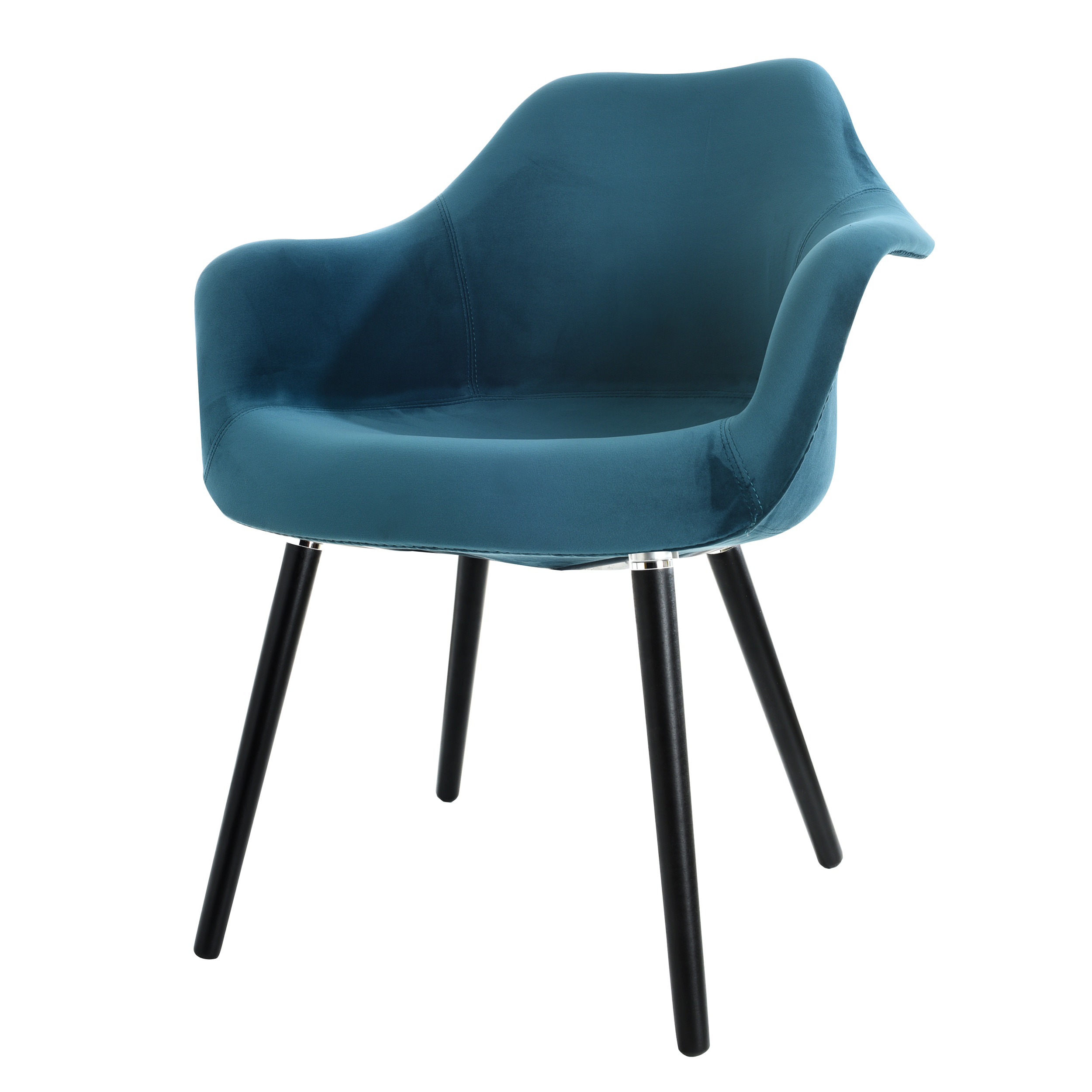 Chaise en velours bleu canard