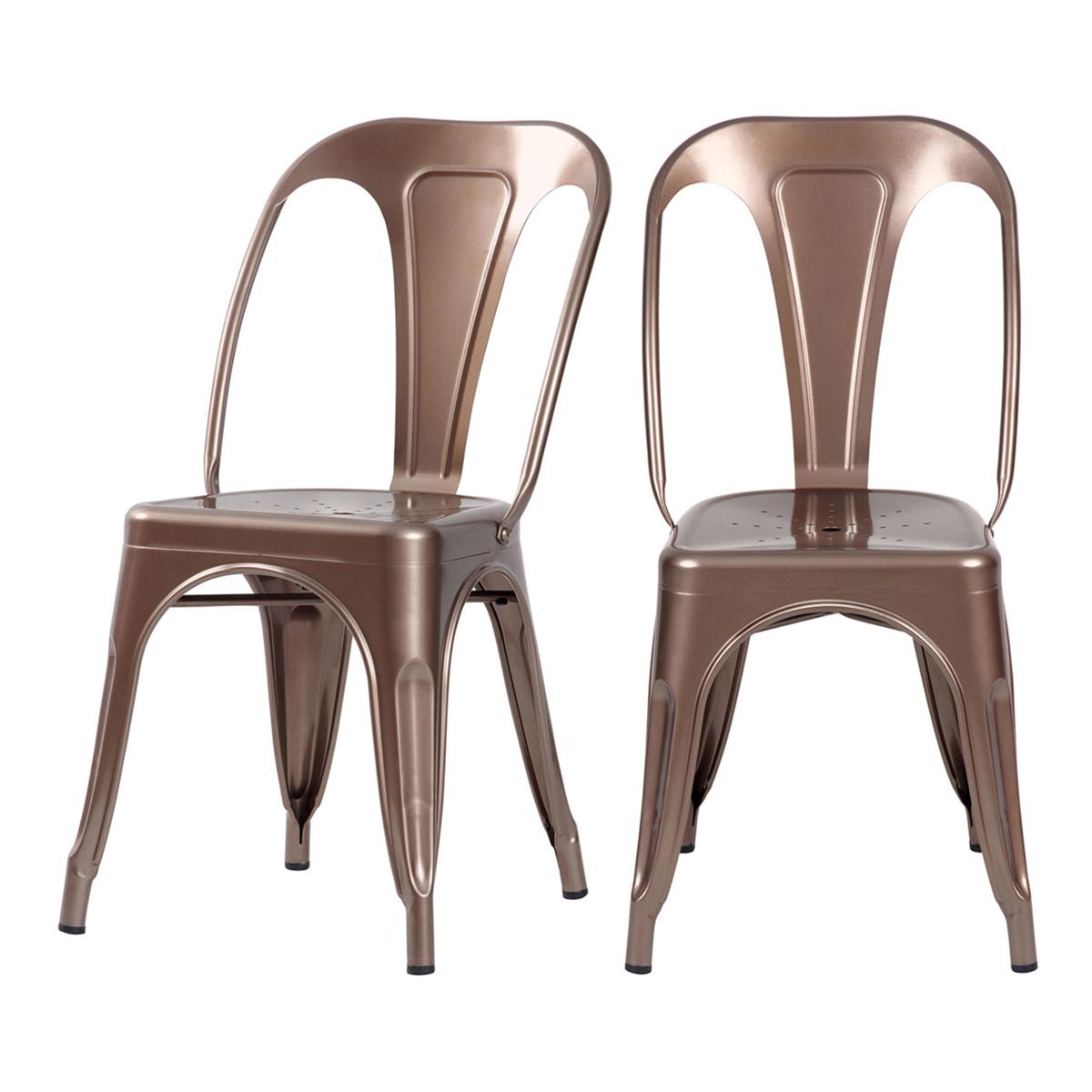 Chaise en métal cuivre (lot de 2)
