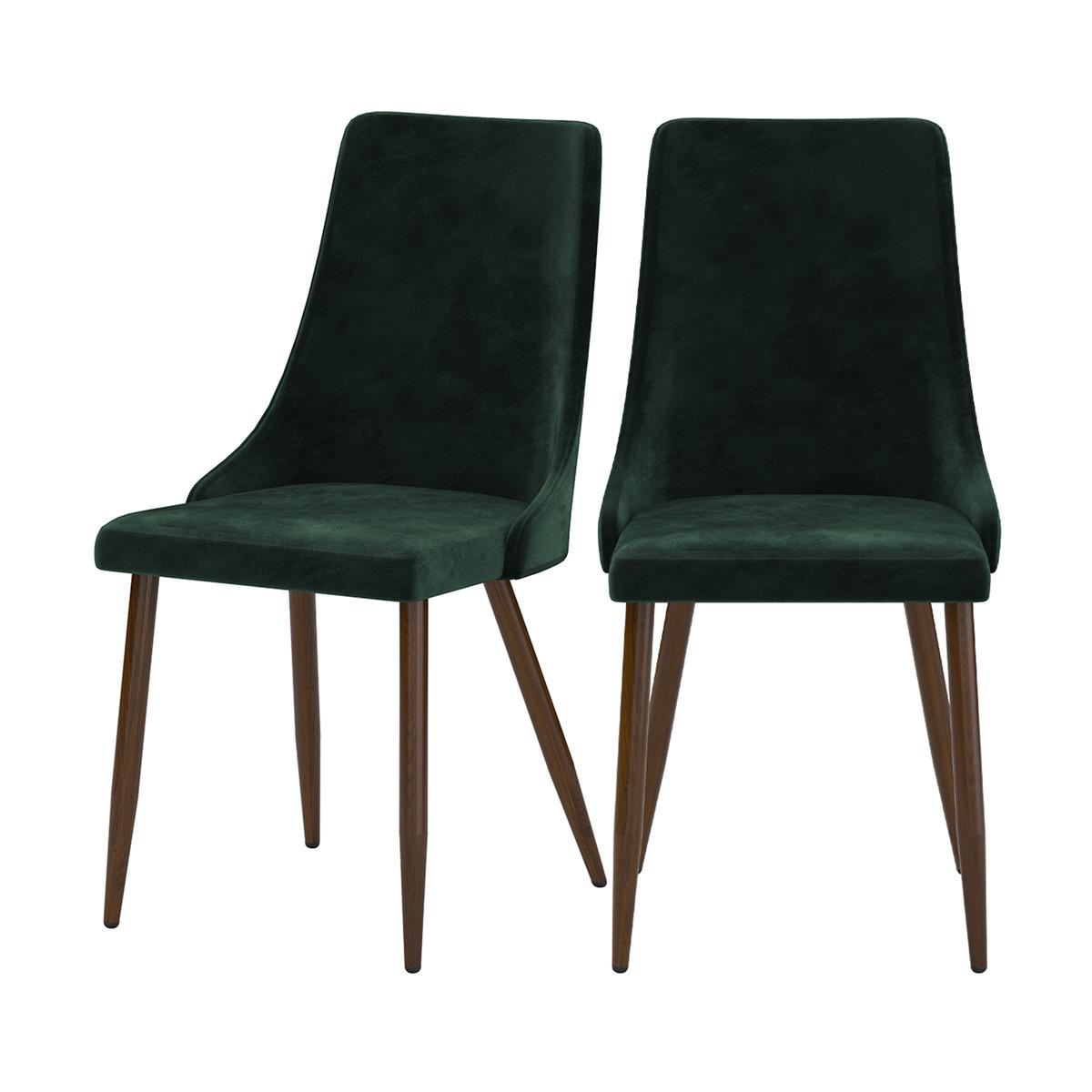 Chaise en velours vert (lot de 2)
