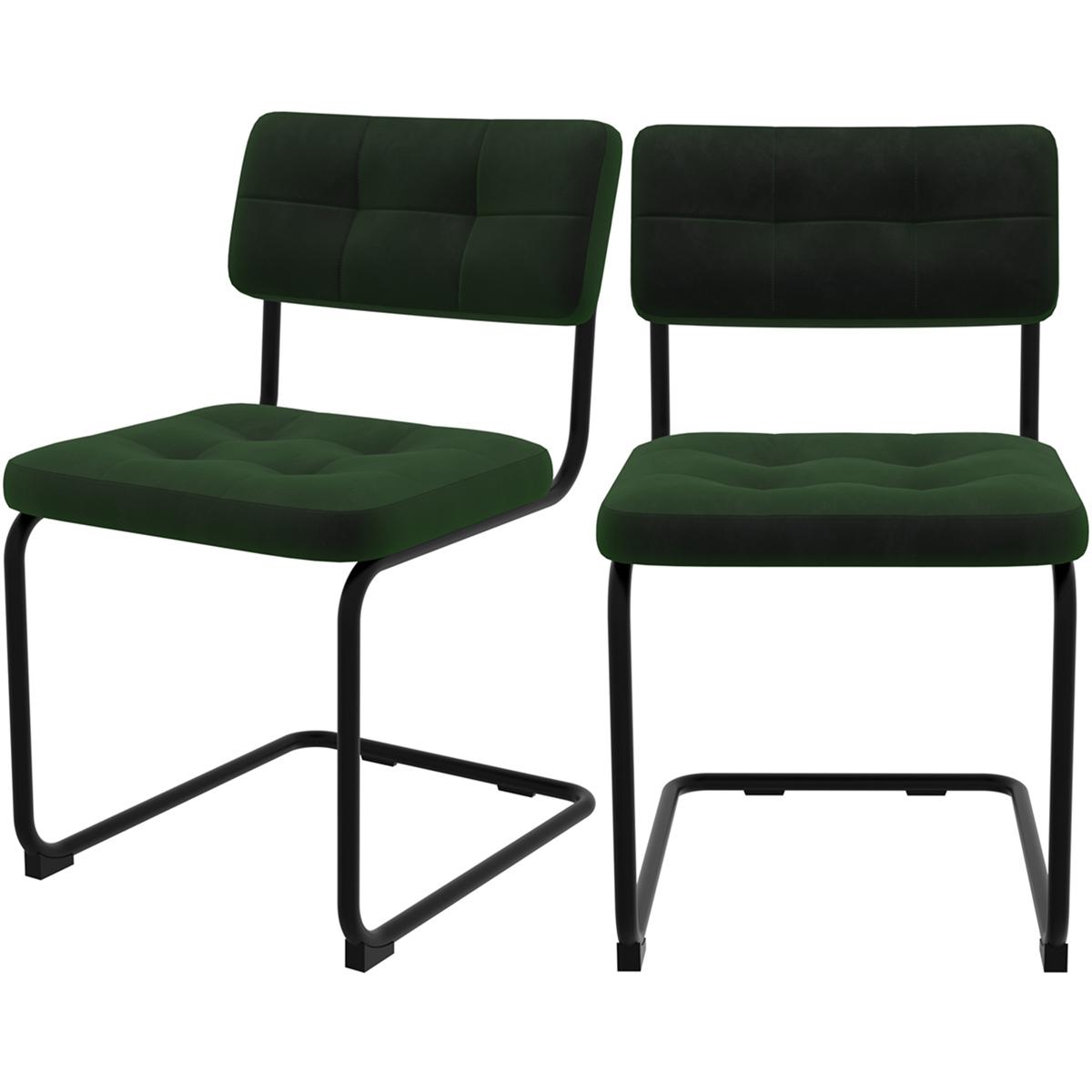 Chaise en velours vert et pieds en métal noir (lot de 2)
