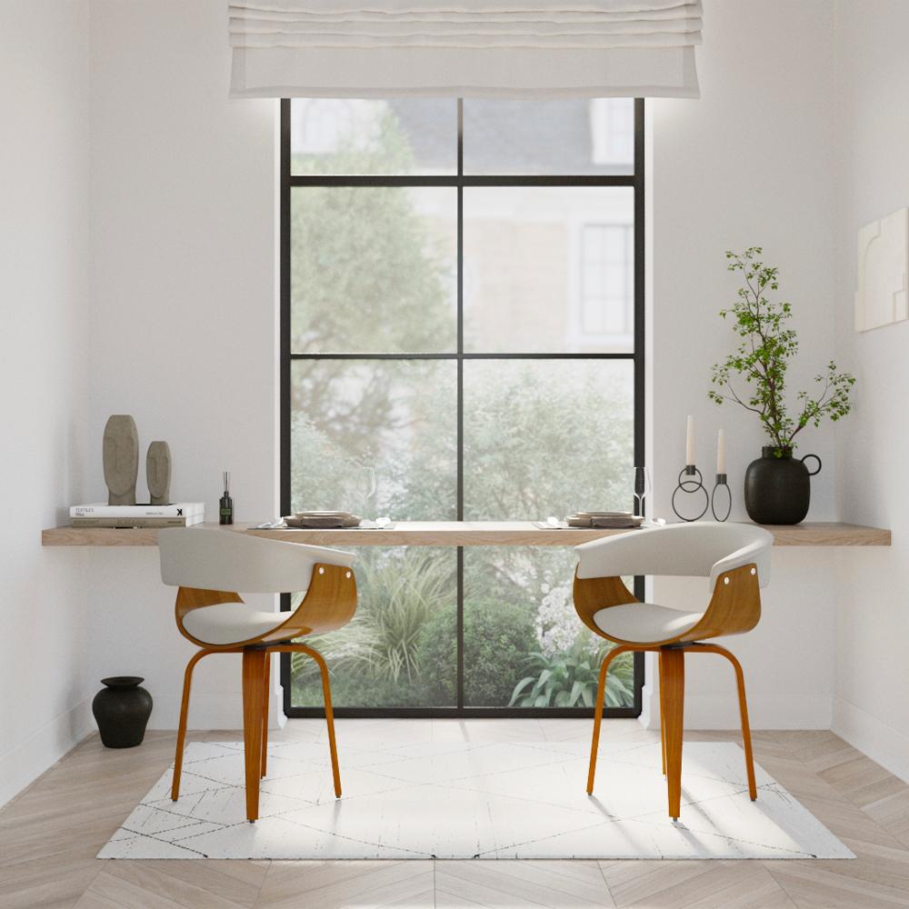 Chaise pivotante en cuir synthétique blanc