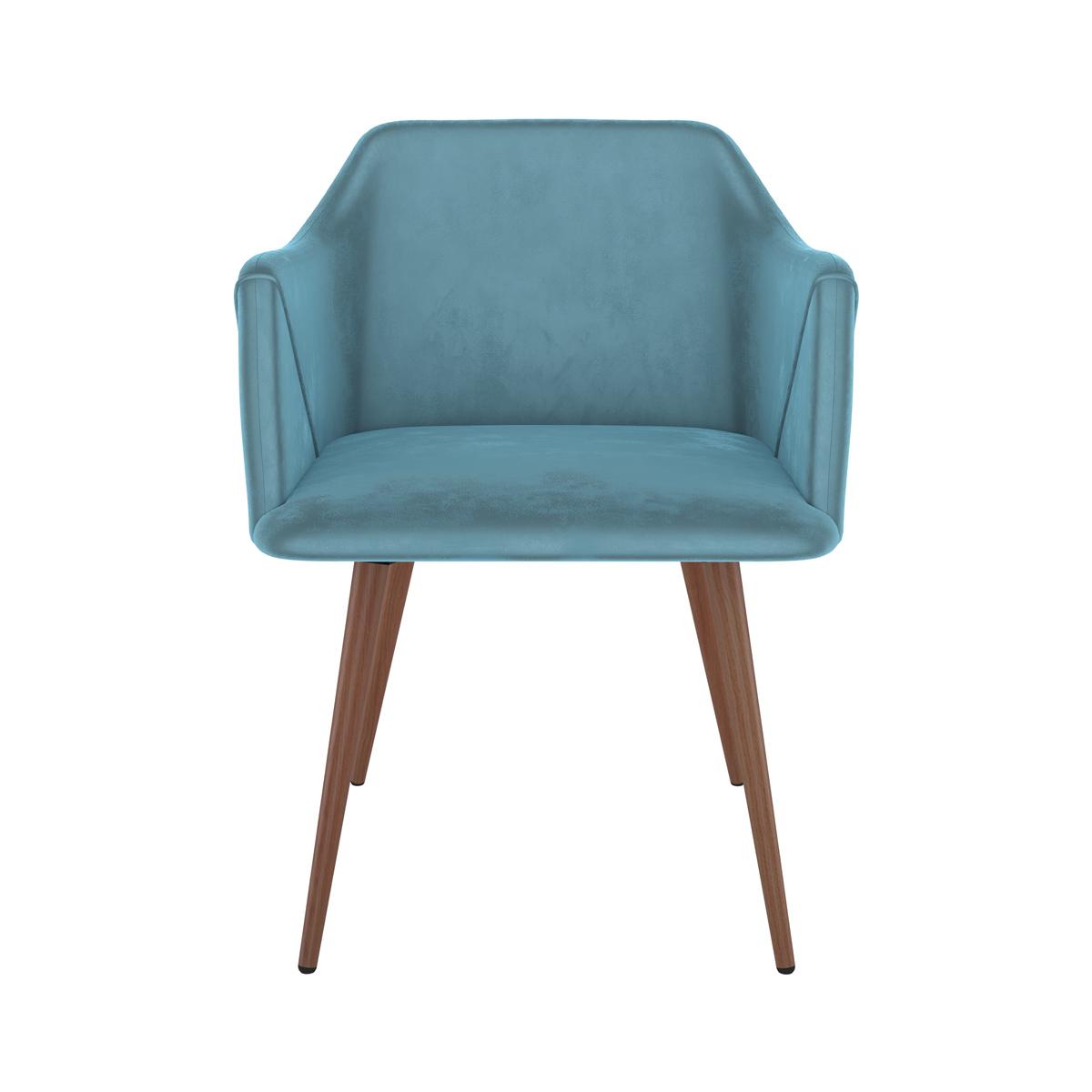Chaise avec accoudoirs en velours bleu (lot de 2)