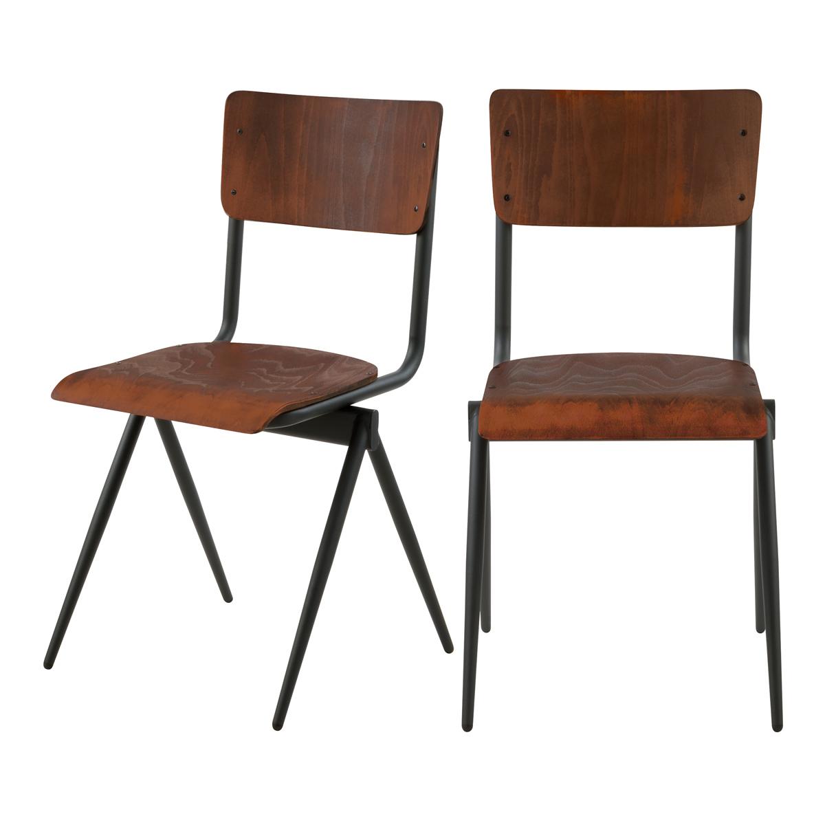 Chaise en bois vieilli et métal noir (lot de 2)