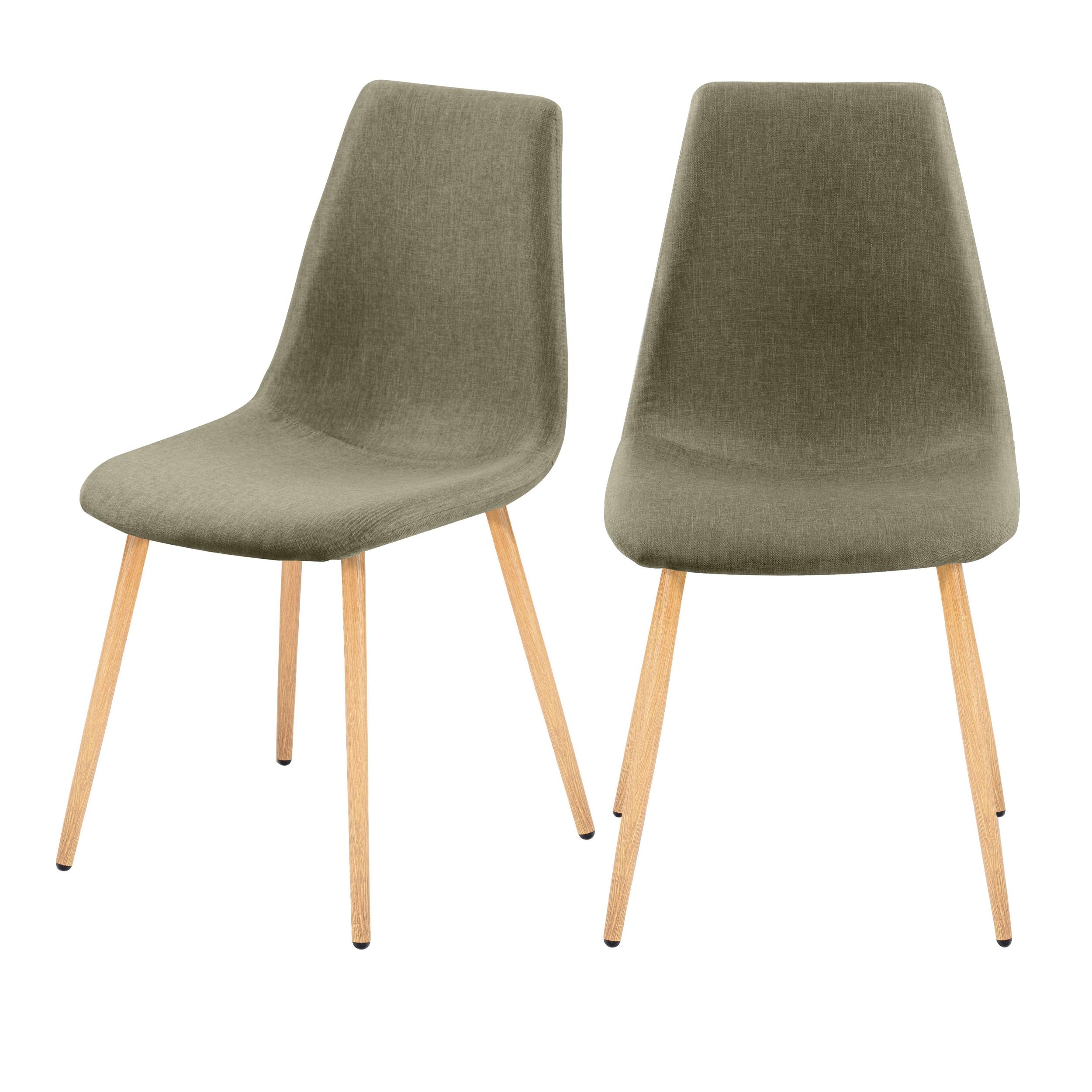Chaise en tissu taupe (lot de 2)