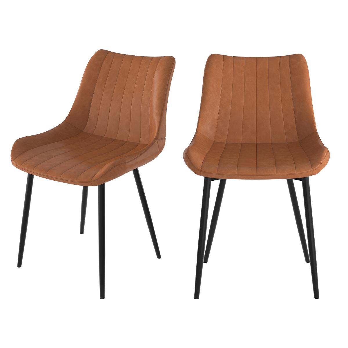 Chaise en cuir synthétique camel et métal noir (lot de 2)