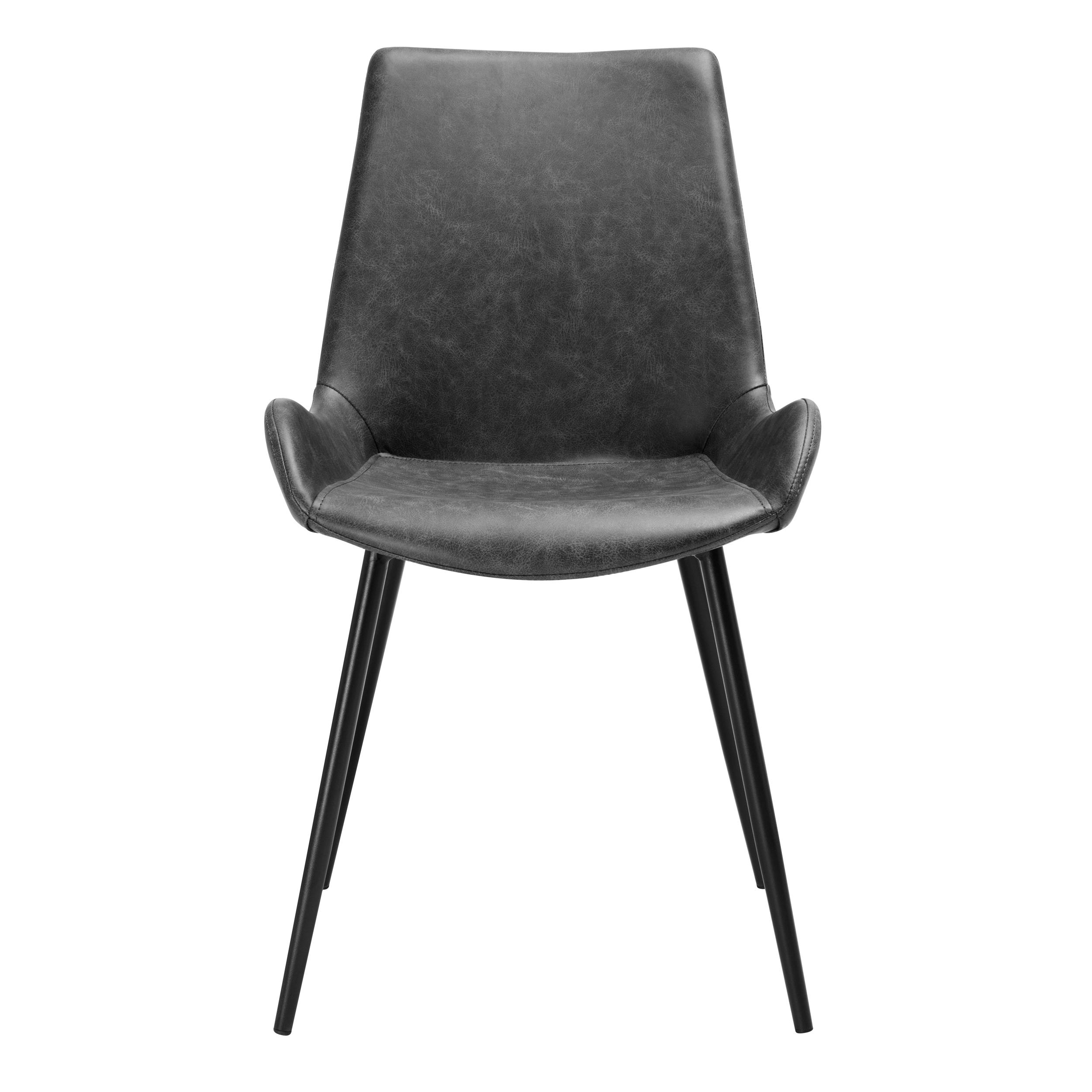 Chaise en cuir synthétique gris foncé (lot de 2)