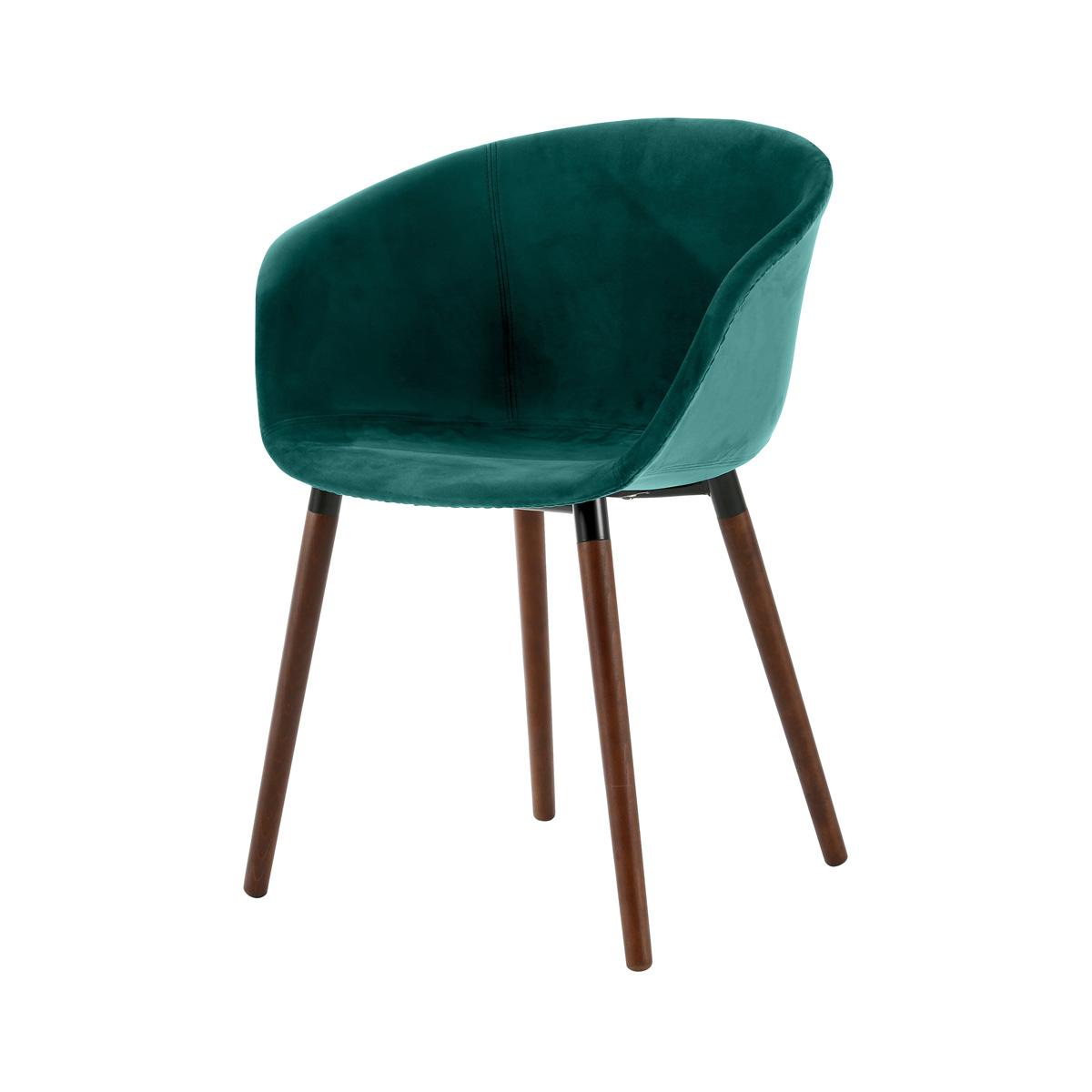 Chaise en velours vert canard