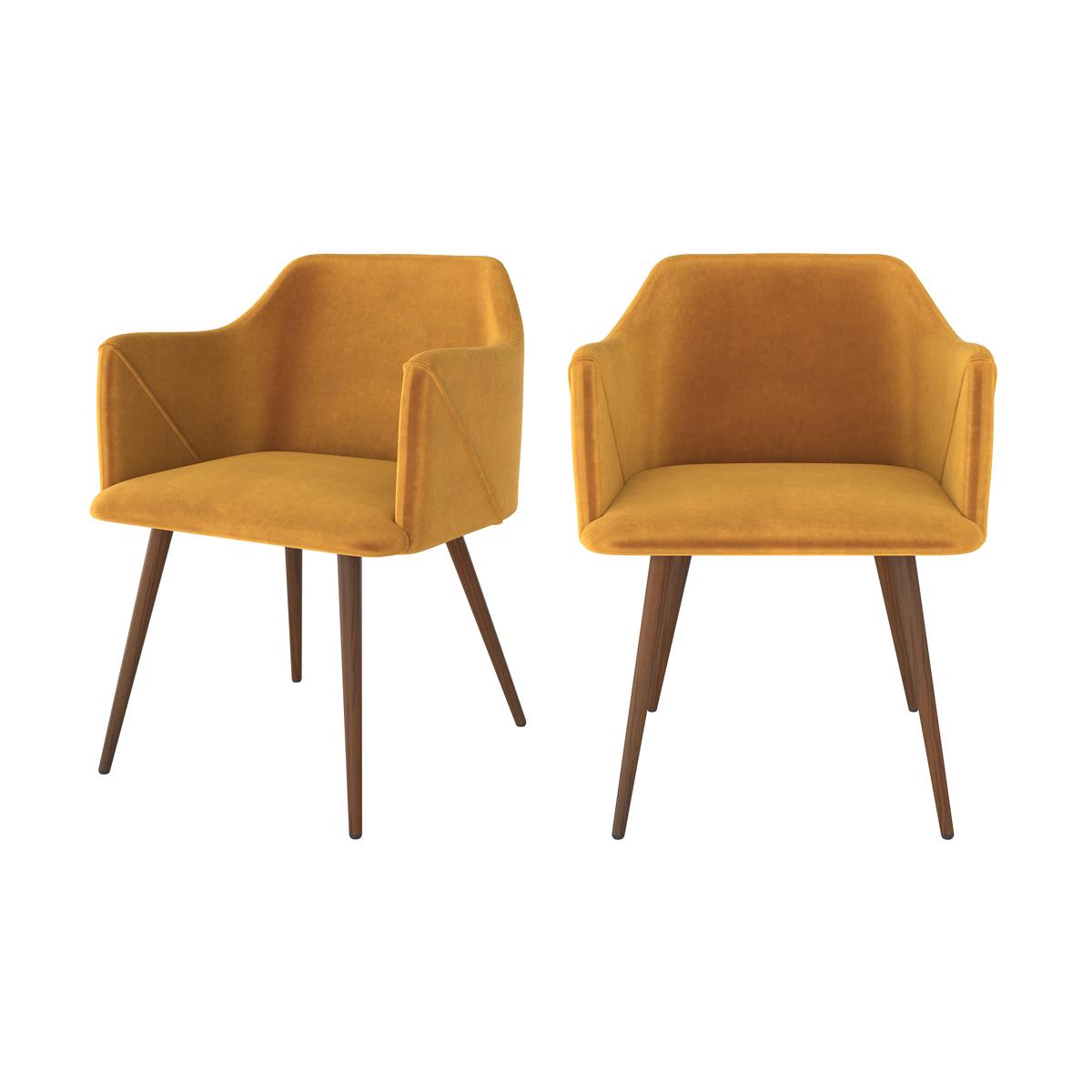 Chaise avec accoudoirs en velours jaune moutarde (lot de 2)