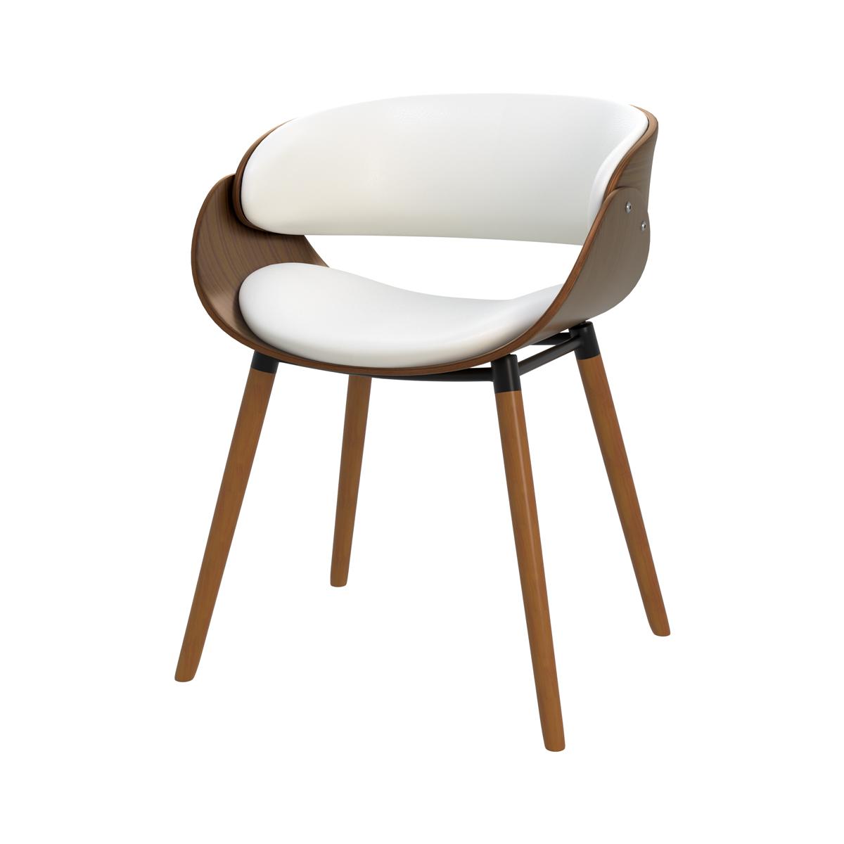 Chaise en cuir synthétique blanc et bois plaqué noyer