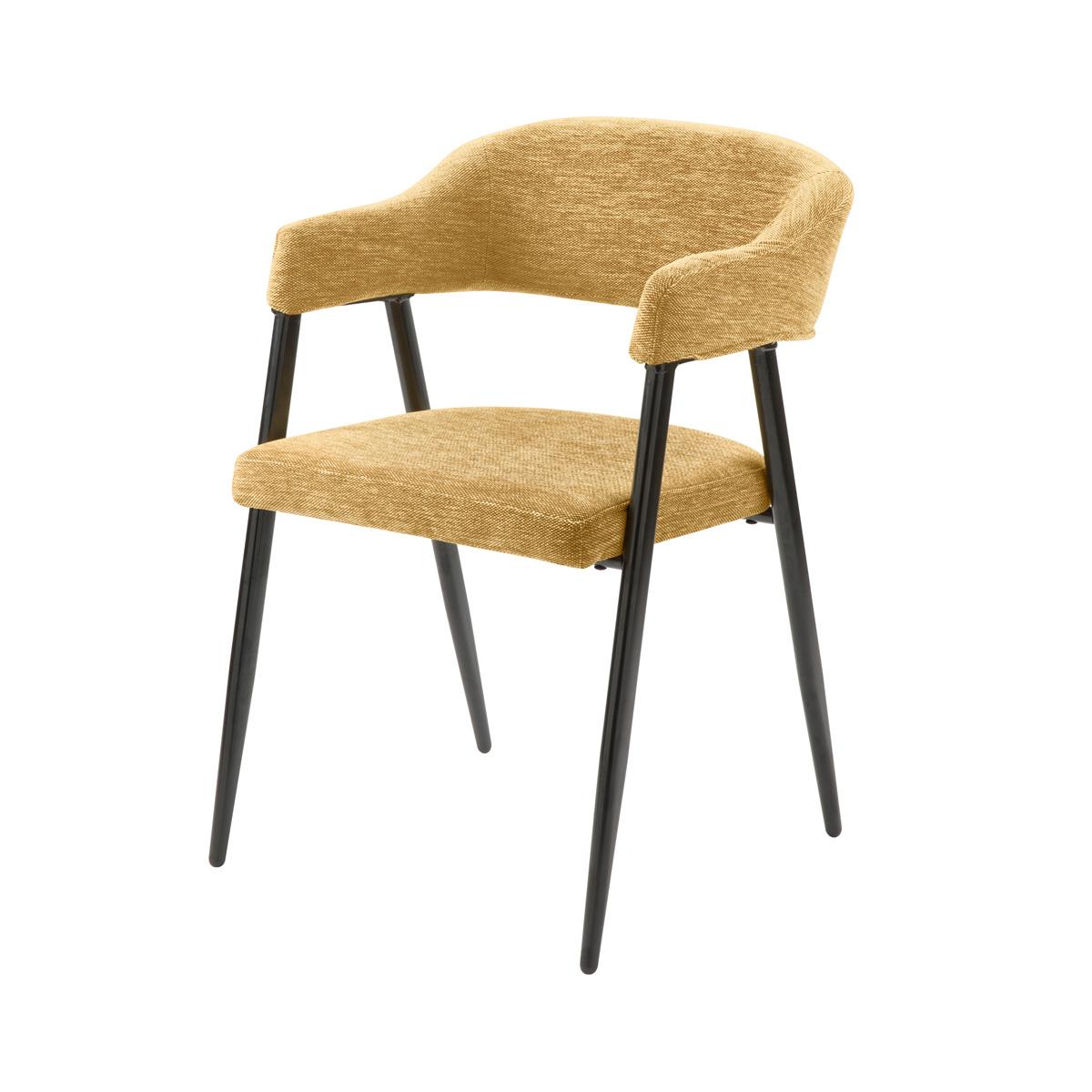 Chaise en tissu jaune chiné