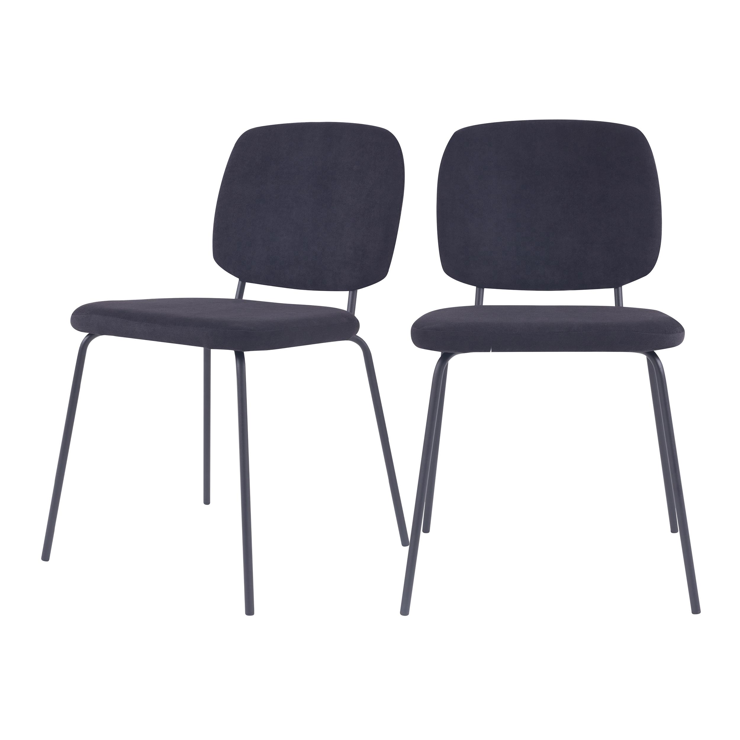 Chaise en velours côtelé noir (lot de 2)