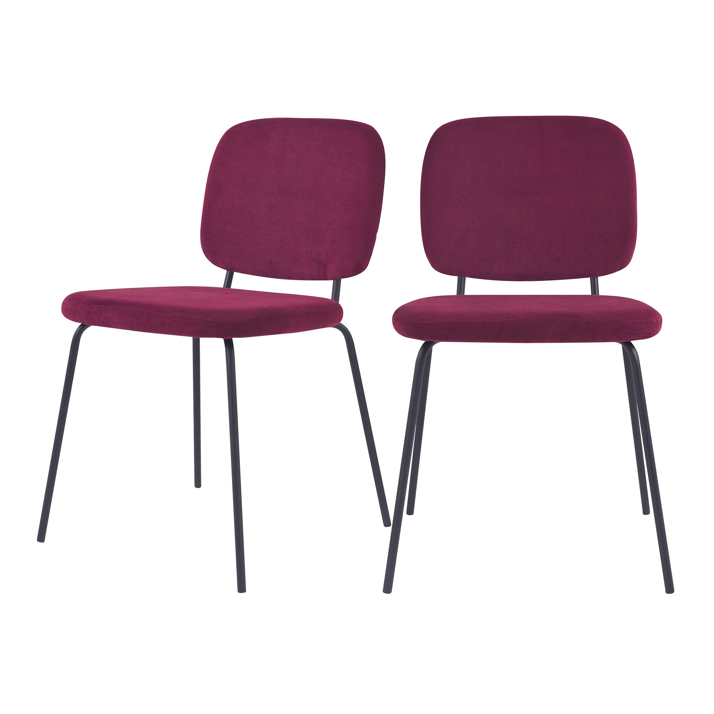 Chaise en velours côtelé prune (lot de 2)